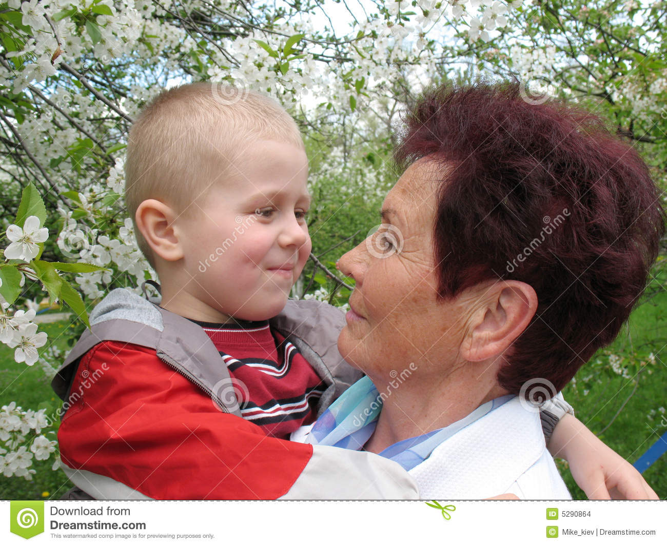 Grandson and grandmother in garden stock images image 5290864