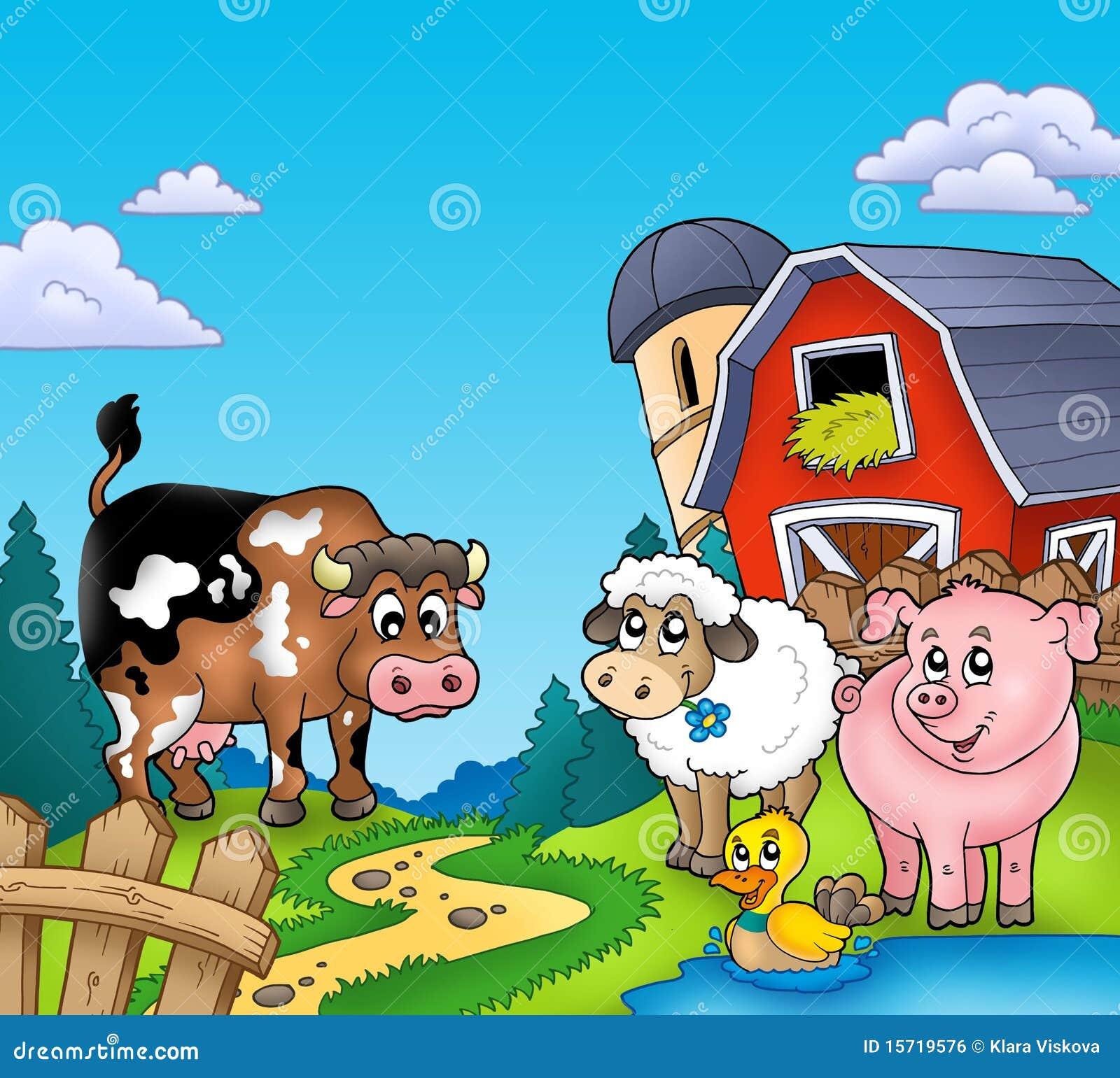 Granero Rojo Con Los Animales Del Campo Stock de ilustración ...