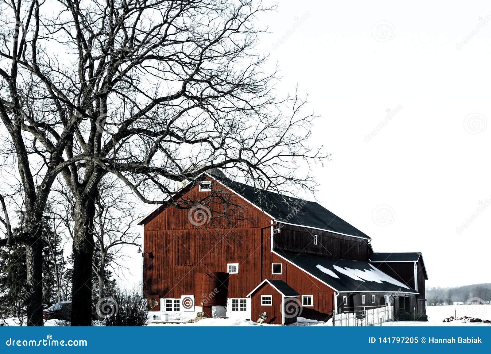 Granero rojo en invierno con nieve