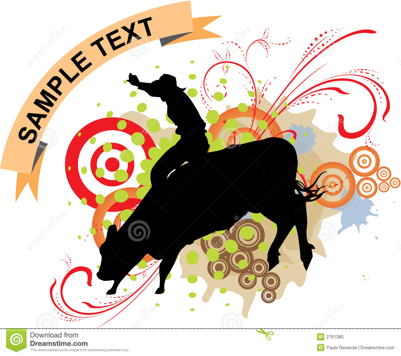 Grange bull ride stock vector  Illustration of animals - 2761385