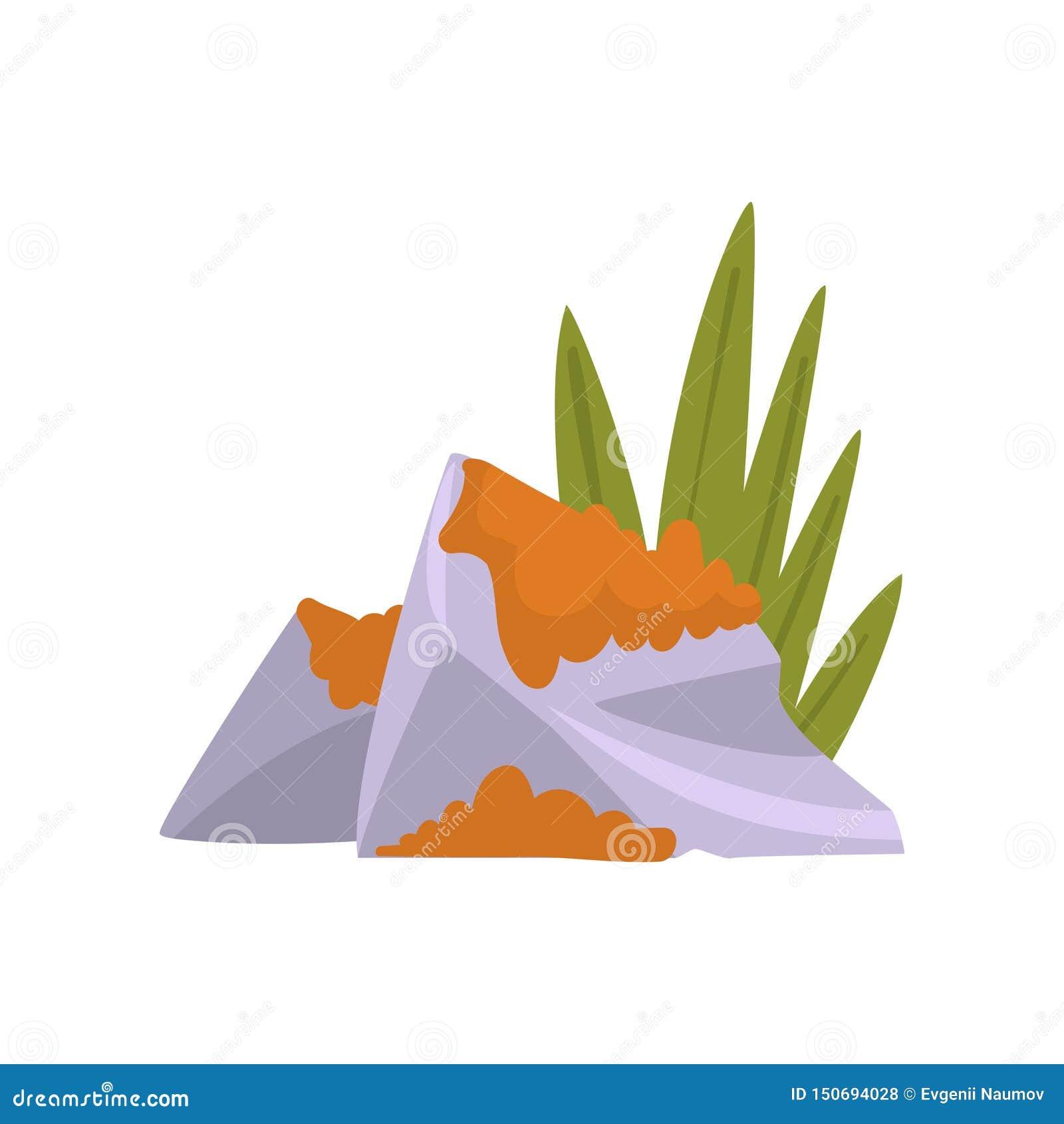 Granit Boulder mit Gras und Moos, Naturlandschafts-Gestaltungselement-Vektor-Illustration