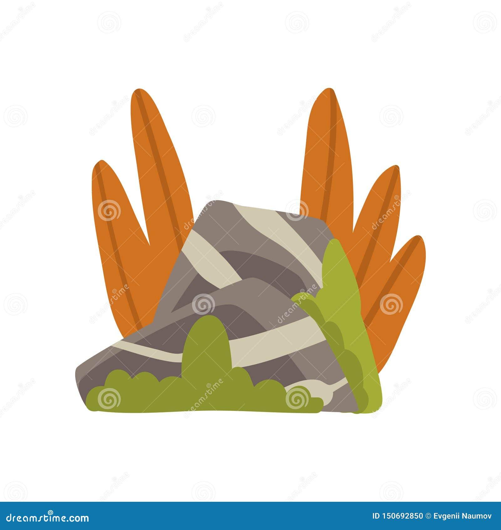 Granit Gray Boulders mit Gras, Naturlandschafts-Gestaltungselement-Vektor-Illustration