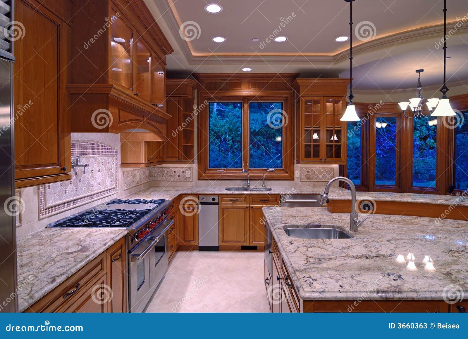 Amerikanische Küchen granit-küche stockbild. bild von ofen, amerikanisch, stahl - 3660363