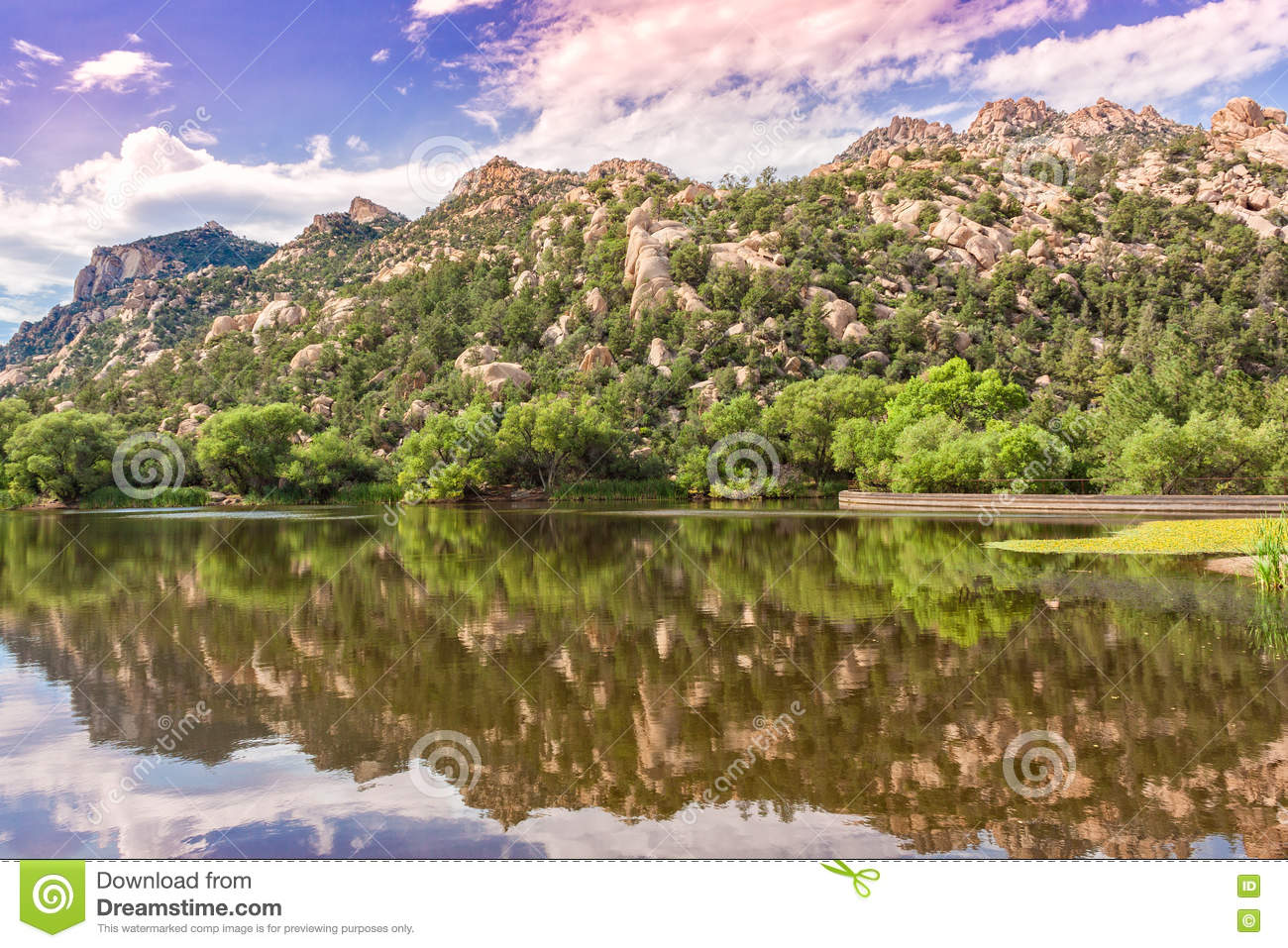 Granite Basin Lake Az.Granite Basin Lake Reflection Stock Photo Image Of Trees Calm