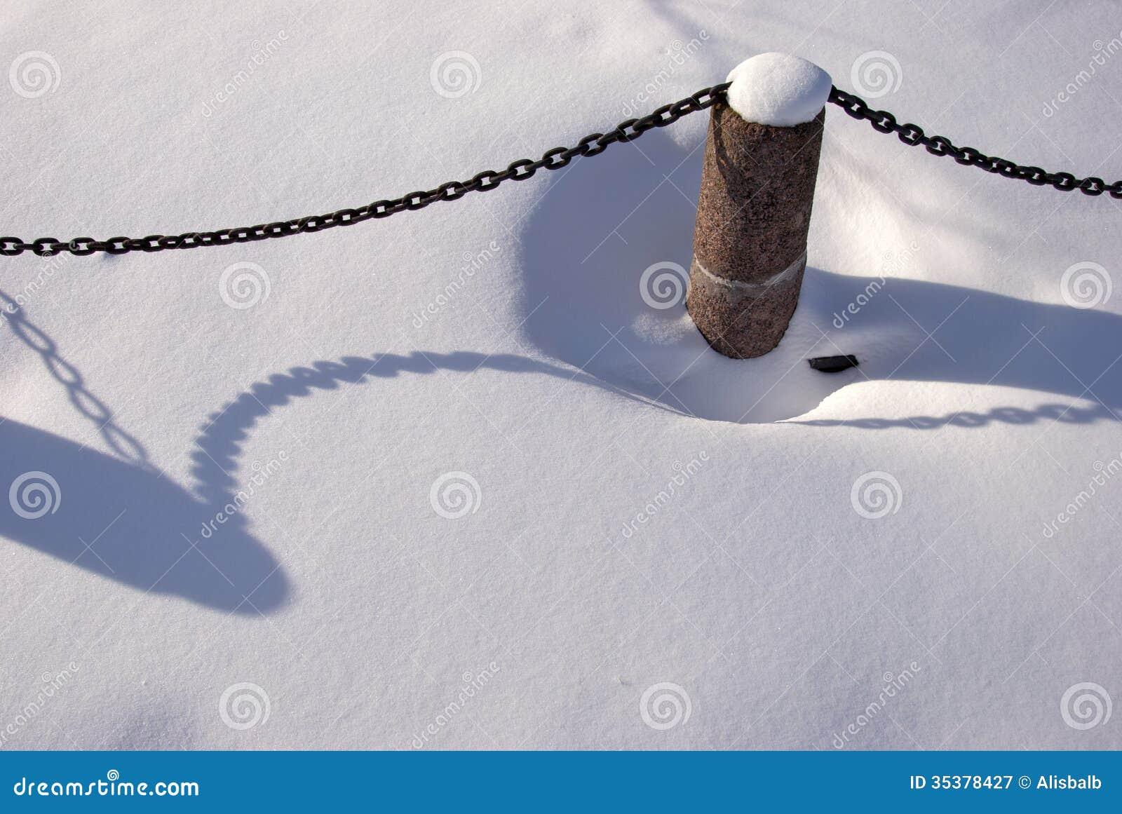 Granite Bollard With Metal Chain In Snow Stock Image - Image