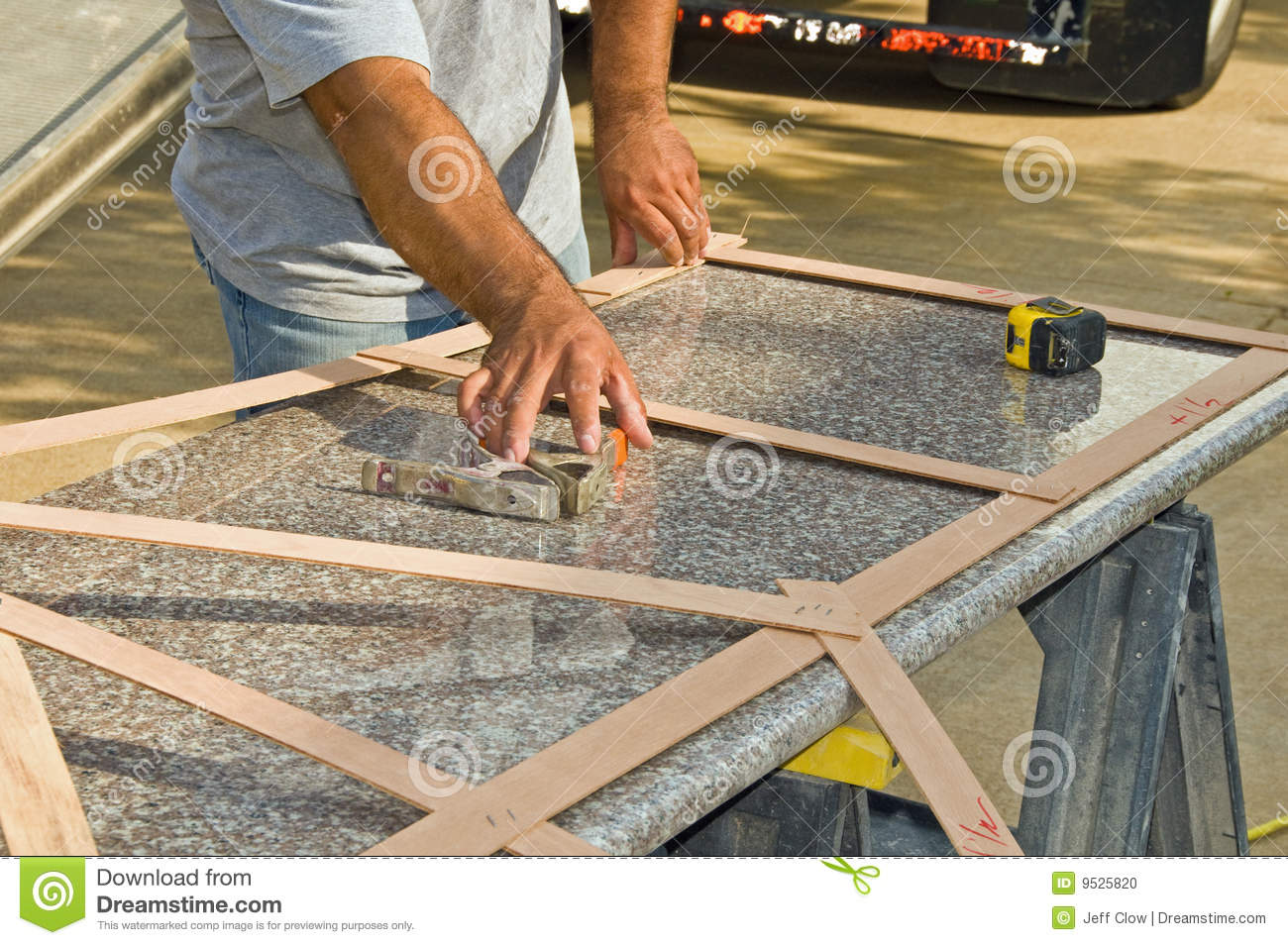 Granite Countertop Measurement Stock Photo - Image of contractor ...