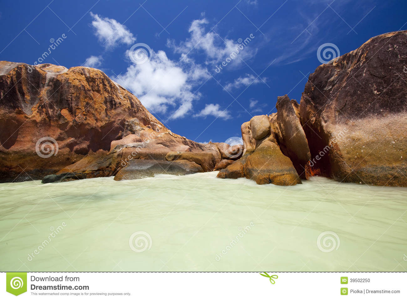 Granite rocks in the water