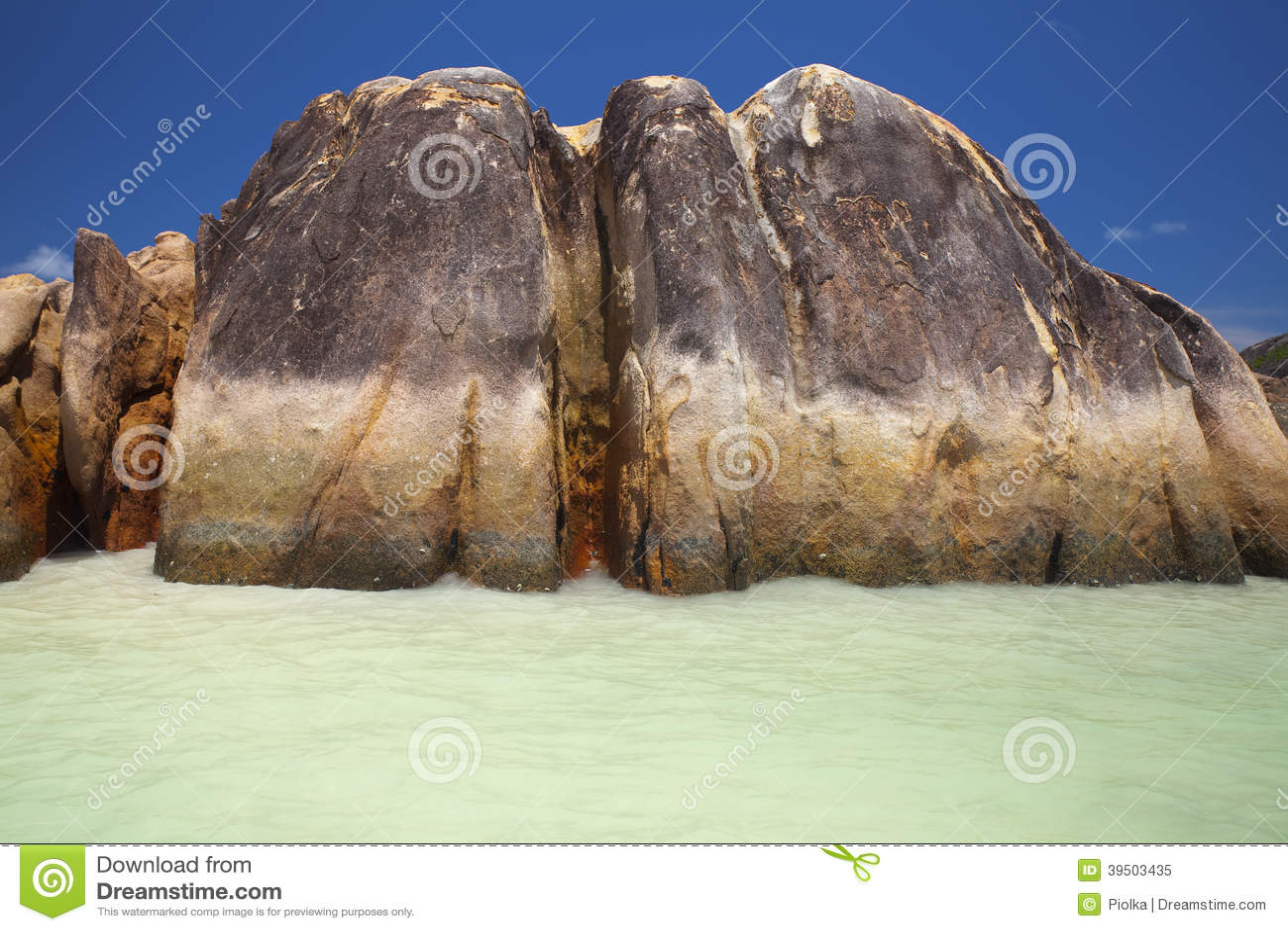 Granite rocks in the water