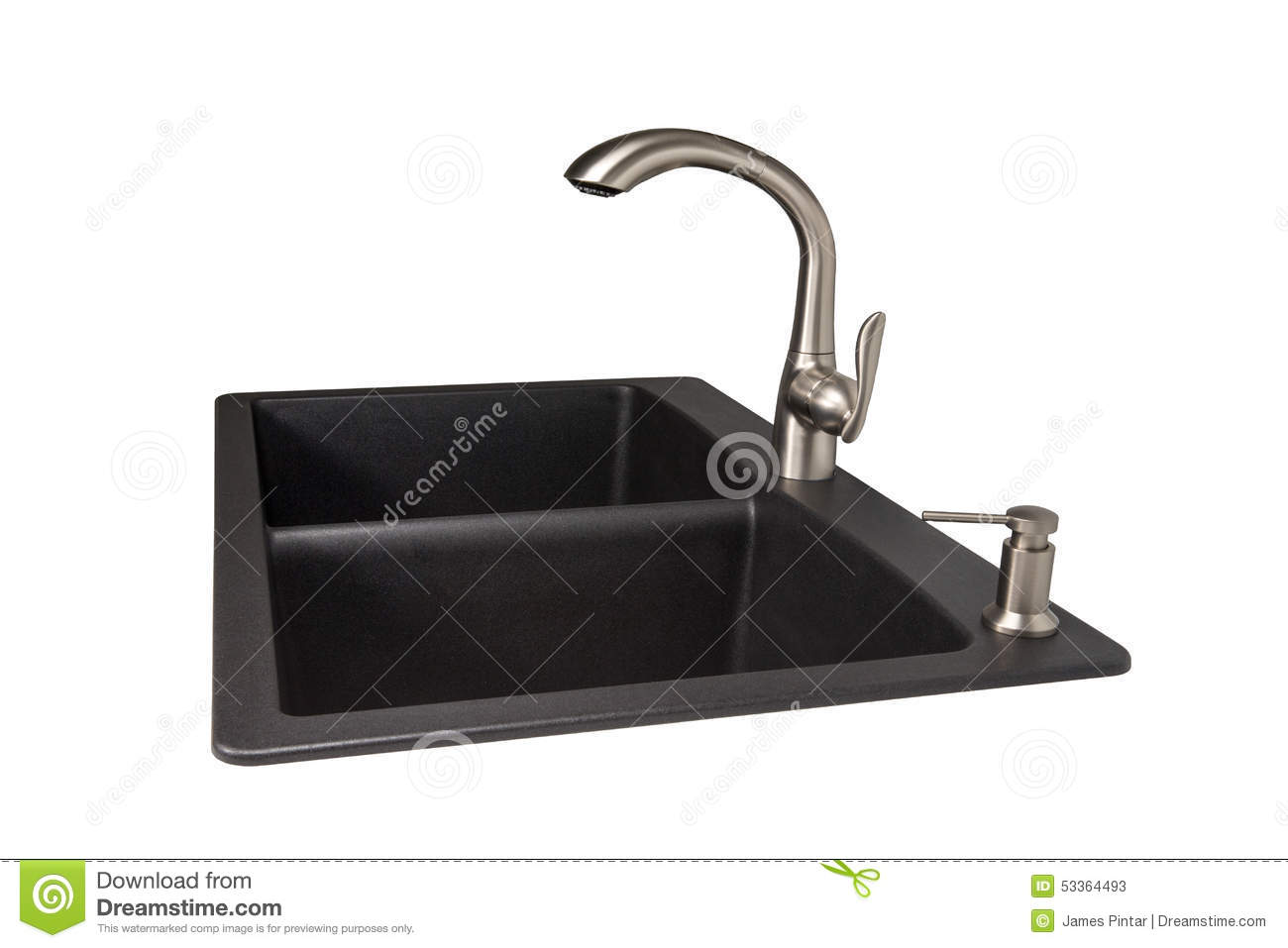 Granite Sink With Brushed Stainless Faucet Stock Image Image Of Silgranit Modern 53364493
