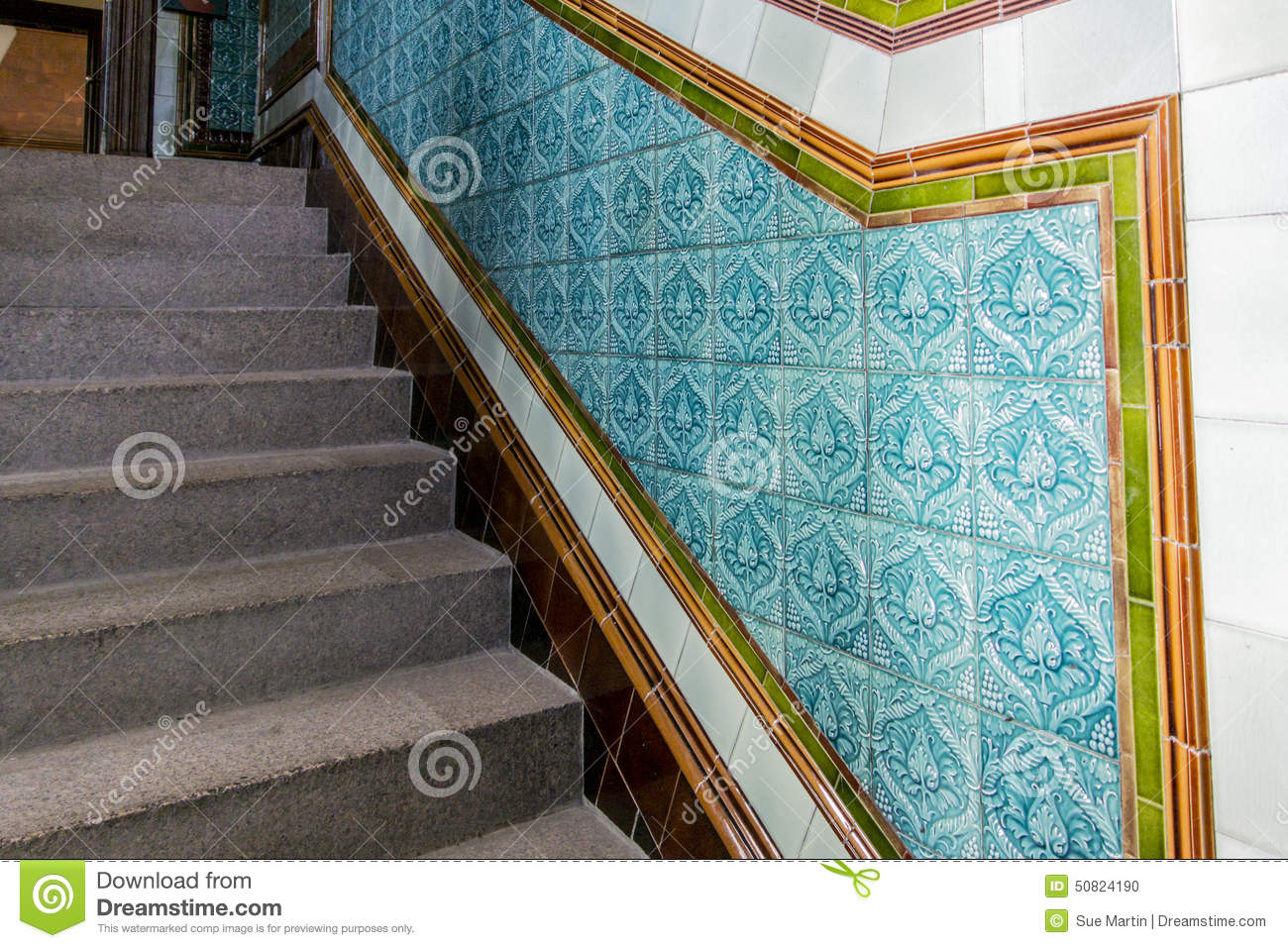 Granite staircase with patterned ceramic tiles stock photo image granite staircase with patterned ceramic tiles dailygadgetfo Image collections