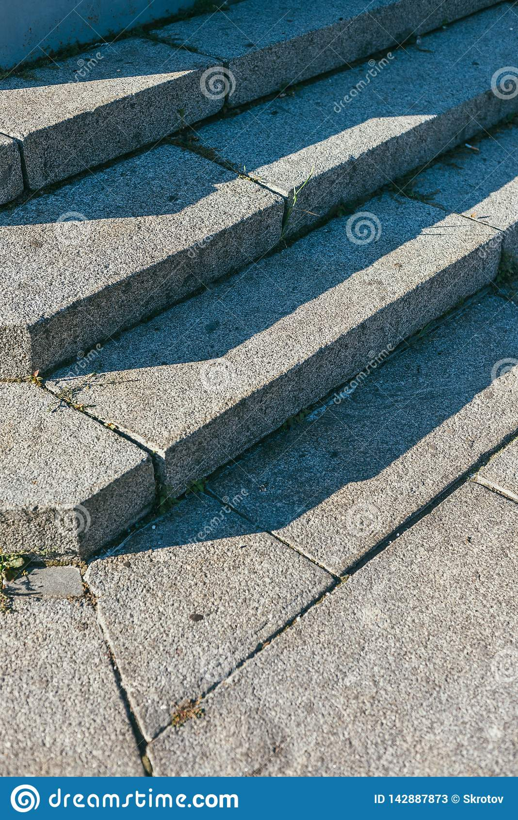 Granite Stairs Steps Background - Construction Detail Lit By