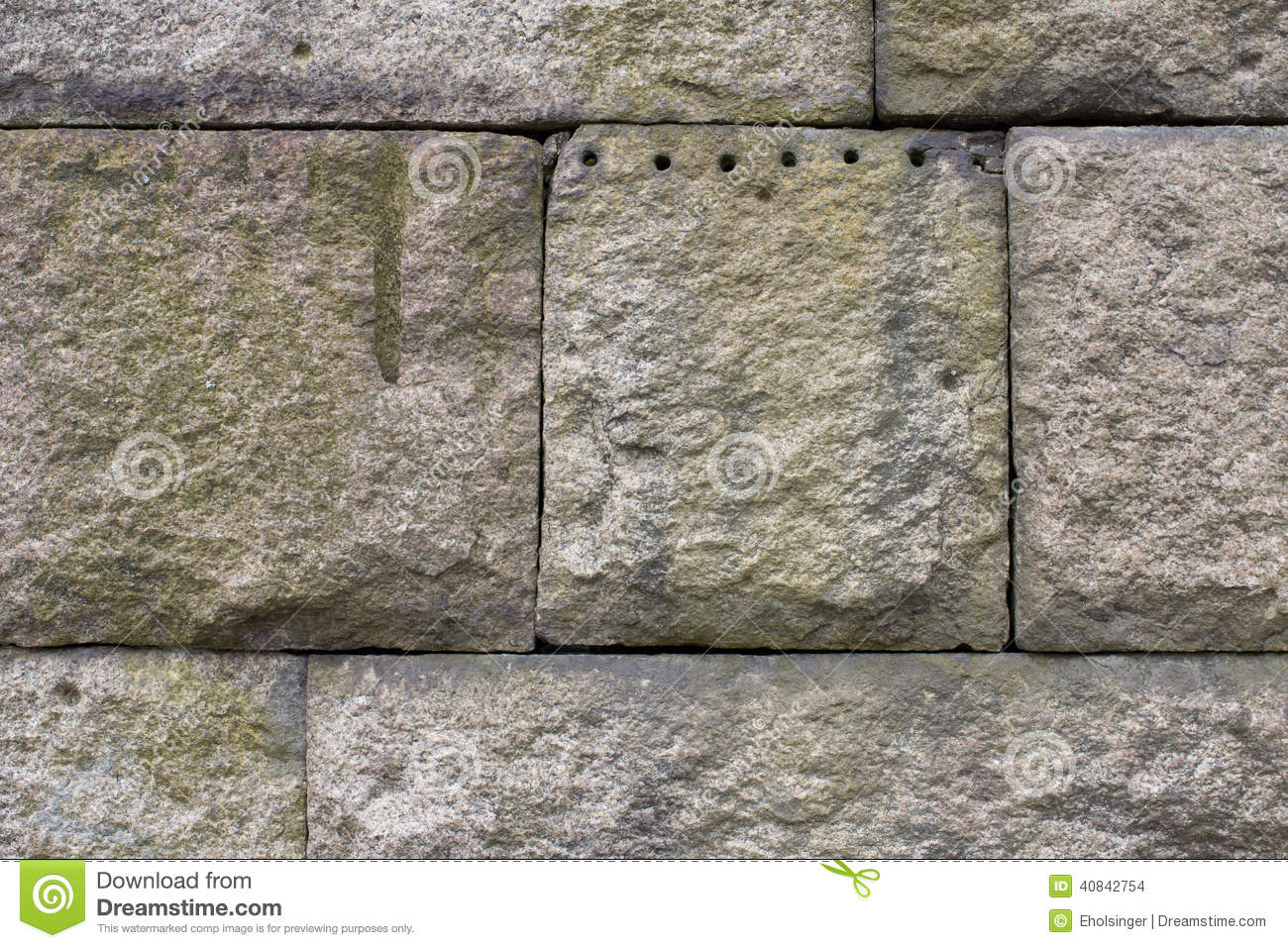 Extremely Large Stone Block : Granite stone block wall weathered with quarry marks