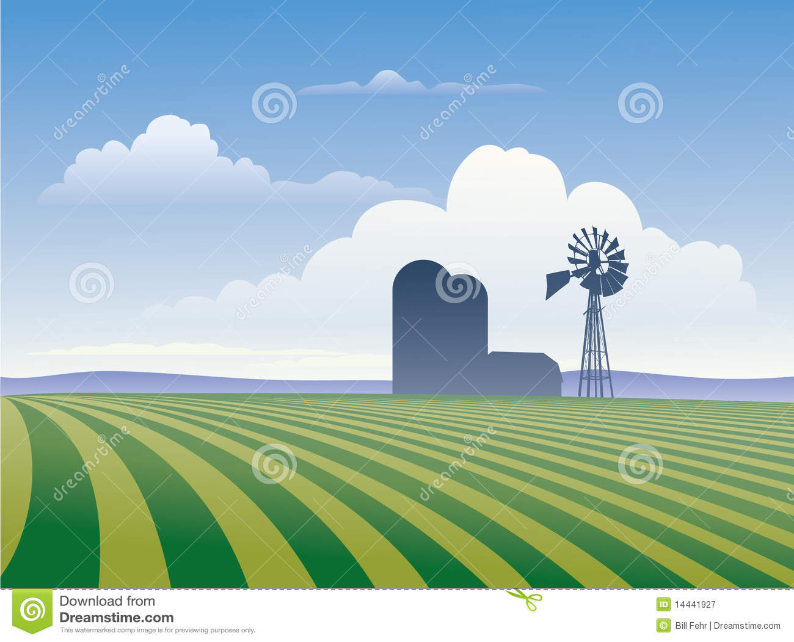 Granja con el molino de viento