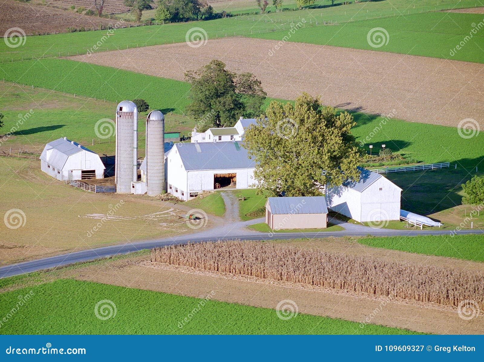 Granja de Amish por el globo del aire caliente