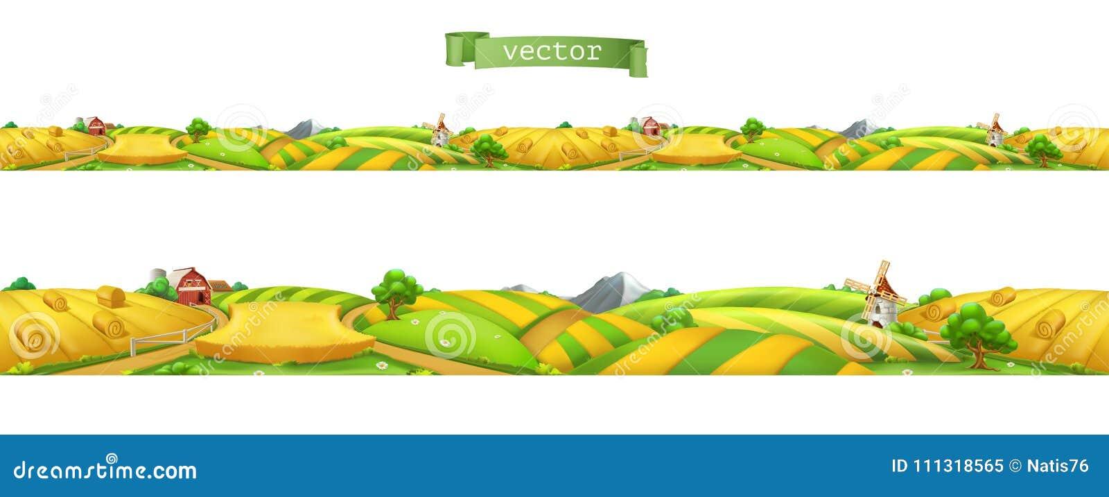 Granja Paisaje, panorama inconsútil Ilustración del vector
