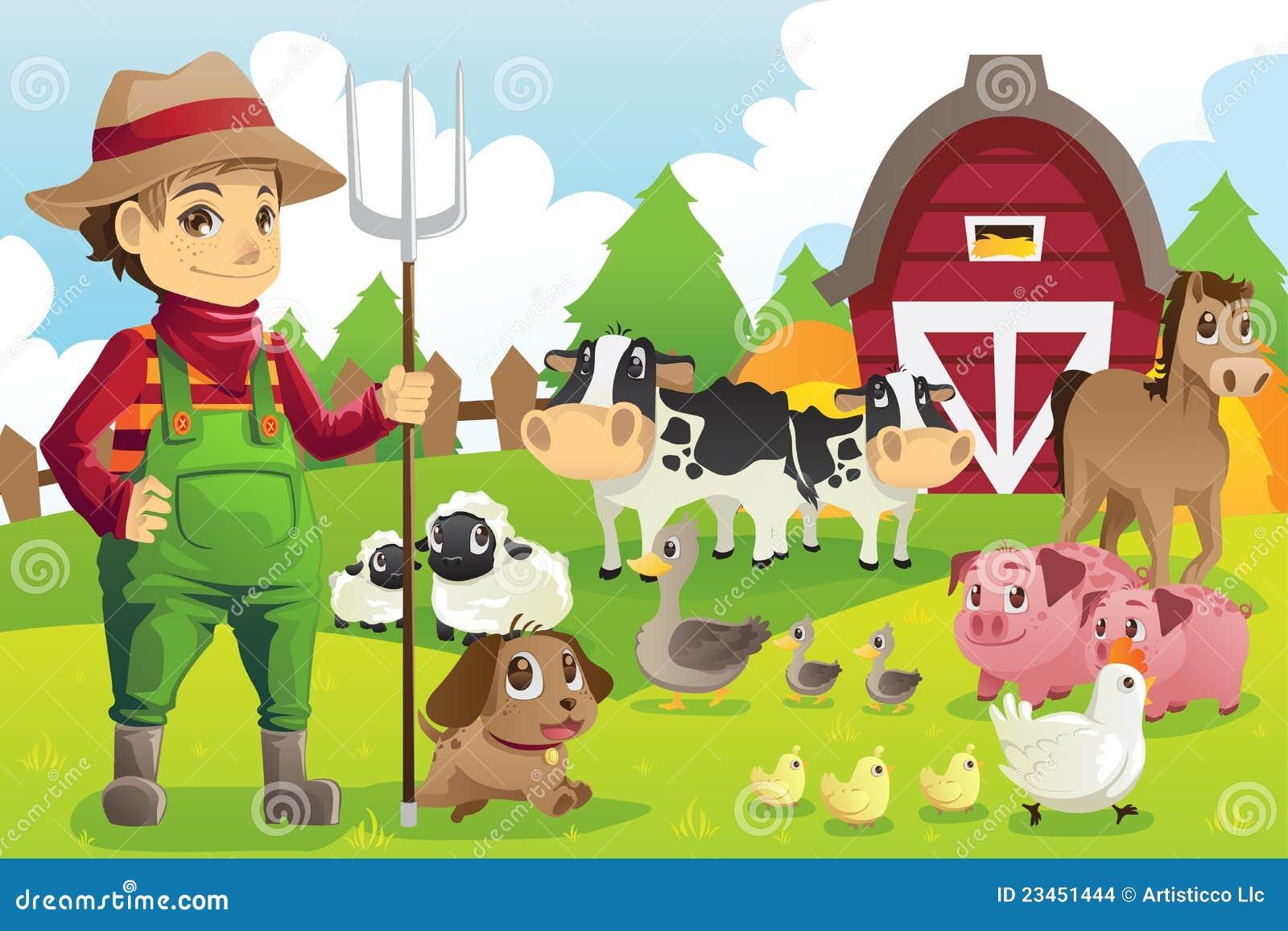 Granjero En La Granja Con Los Animales Ilustración Del