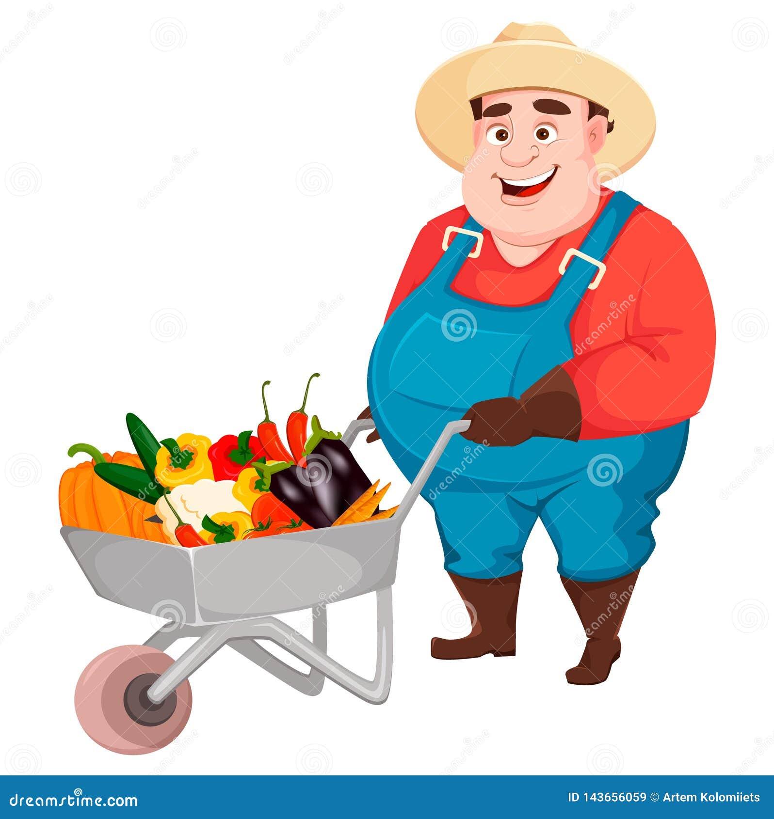 Granjero Gordo Jardinero De Funny Del Agrónomo Ilustración