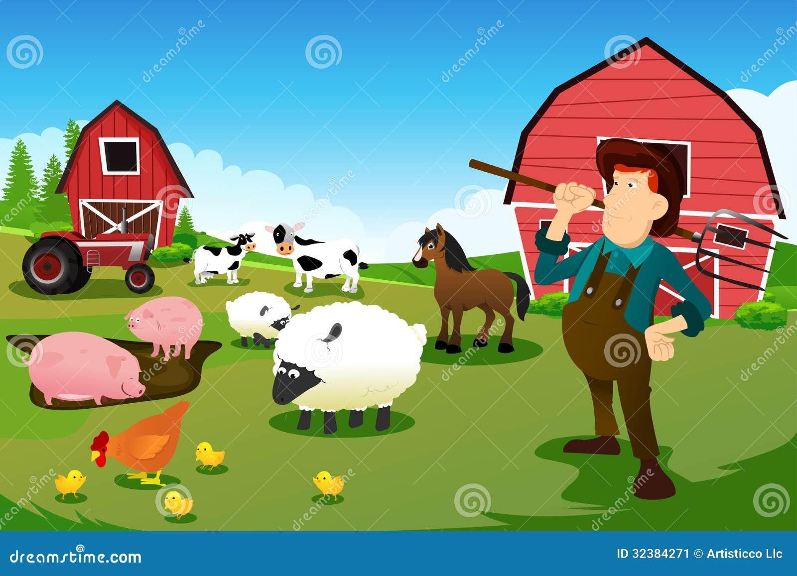 Granjero Y Tractor En Una Granja Con Los Animales Y El