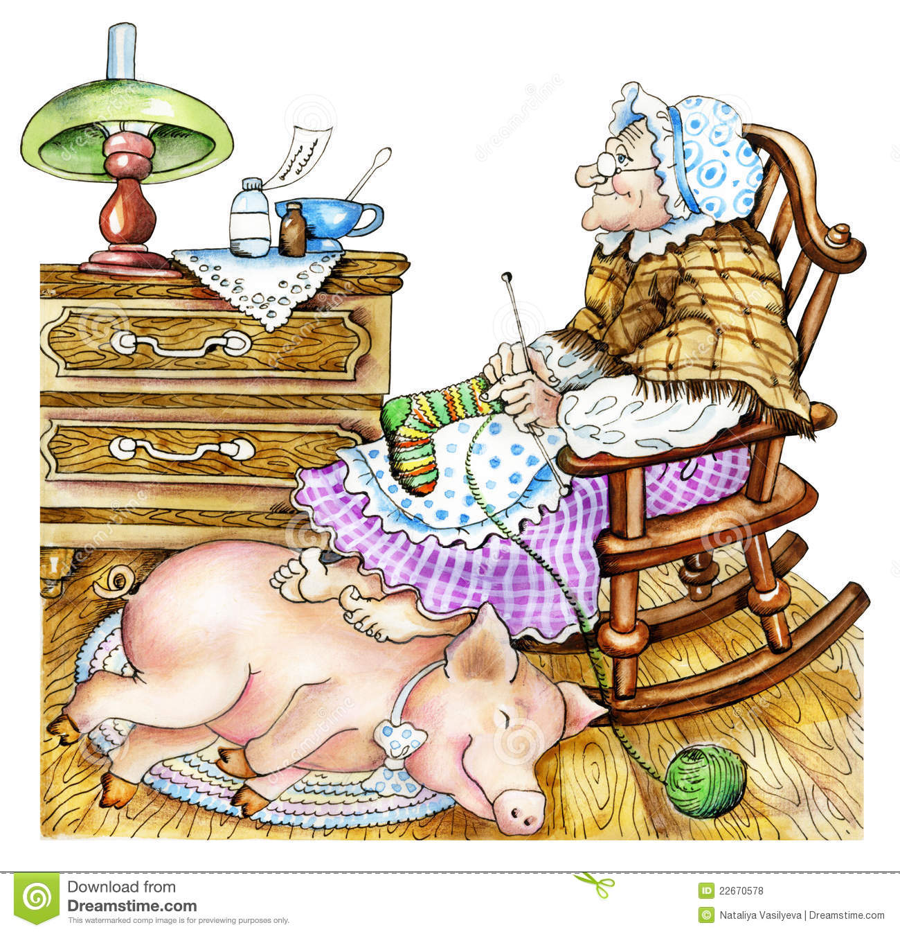 Granny with a pig