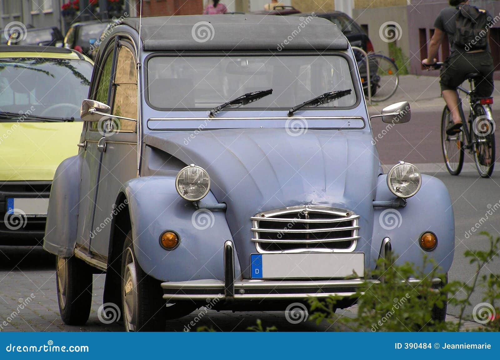 Granny\'s Car stock photo. Image of headlight, oldtime, blue - 390484