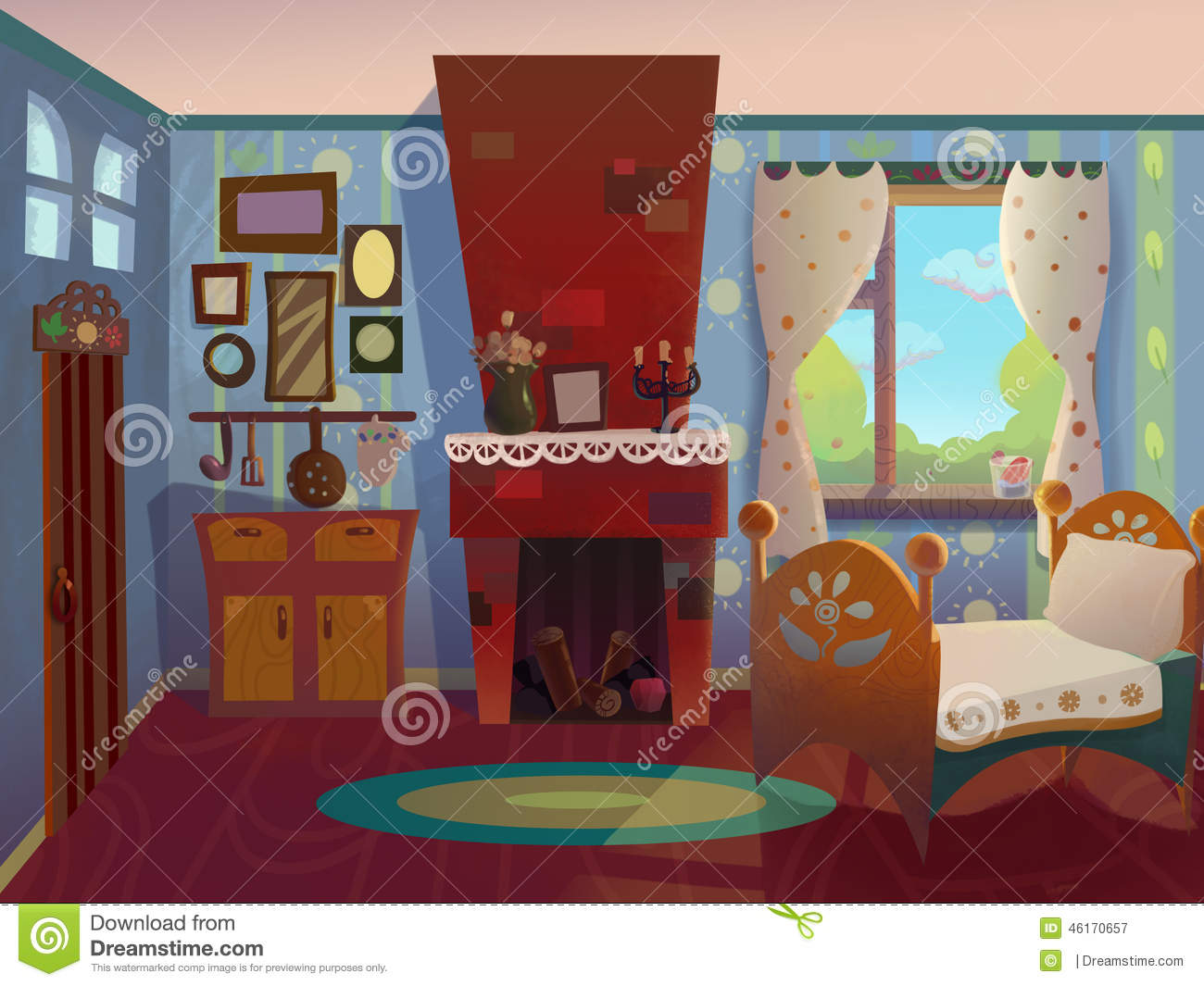 Granny S Living Room Drawn In Cartoon Style Stock