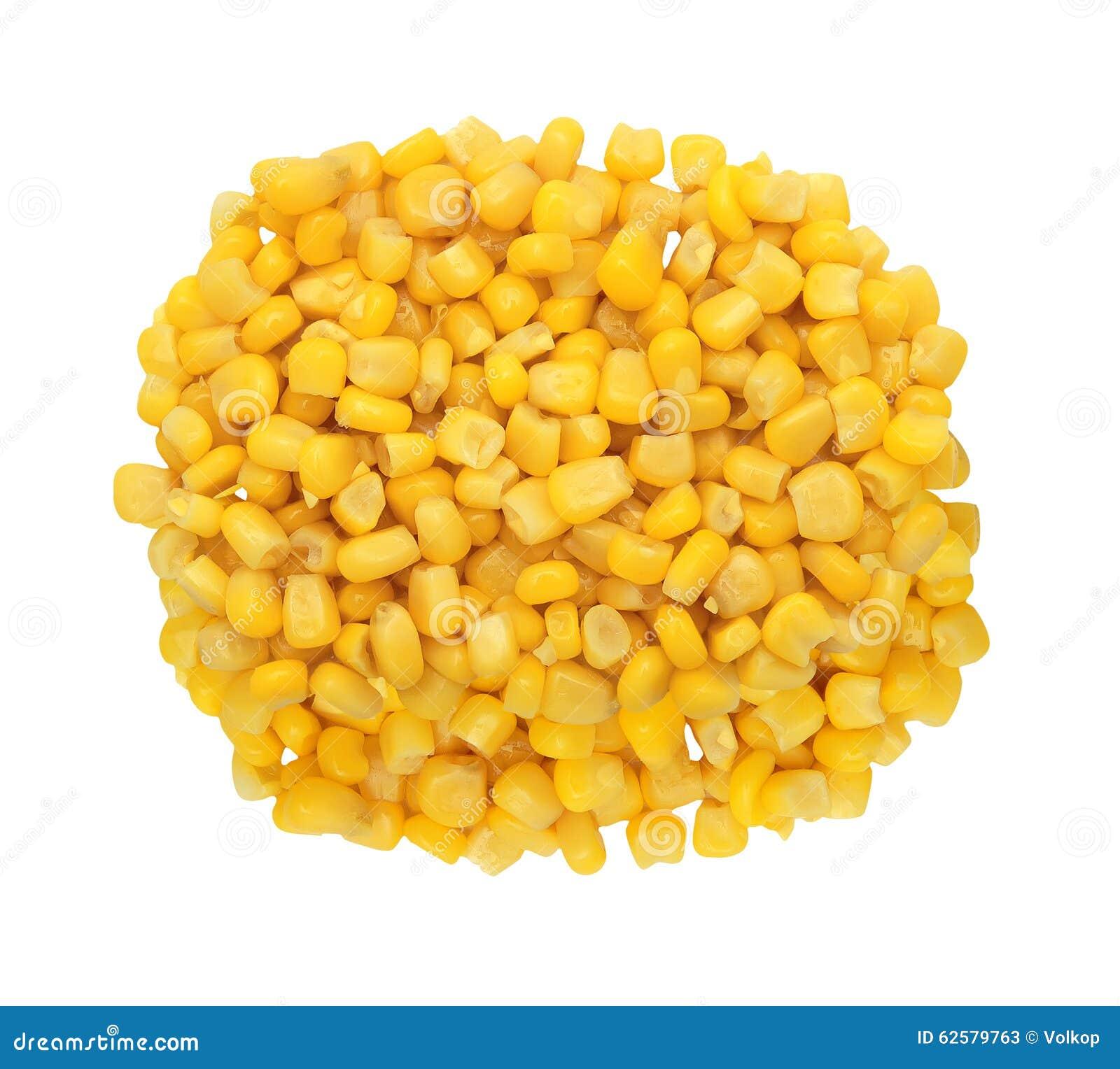 Grano amarillo dulce del maíz aislado en blanco