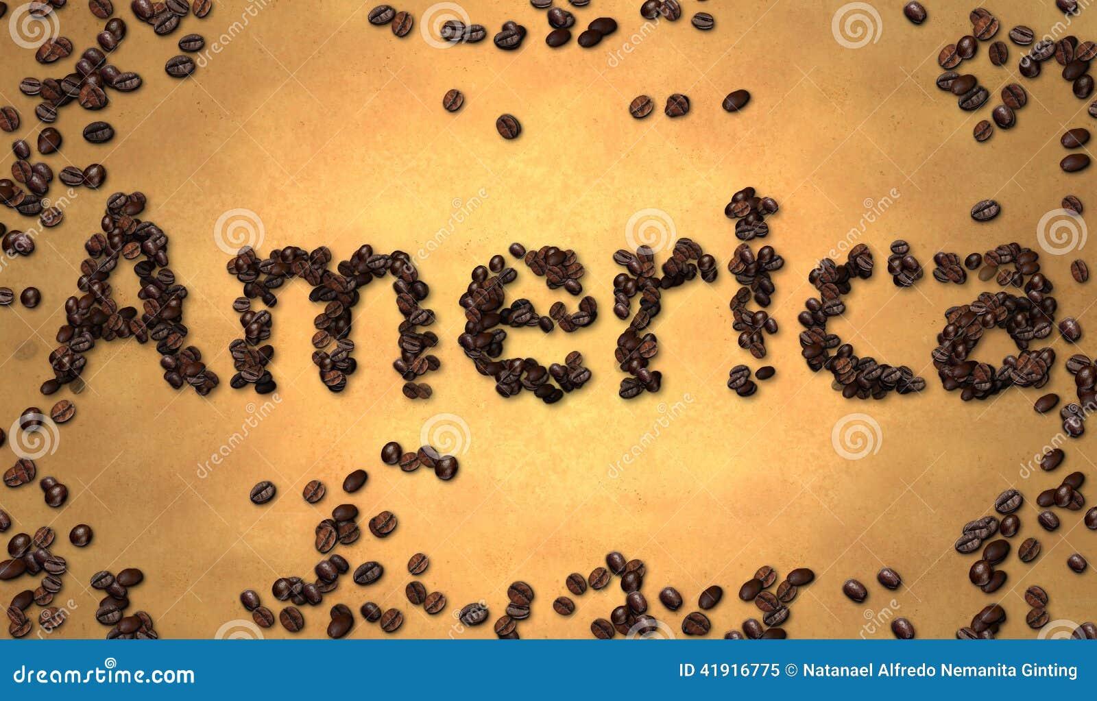 Grano de café de América en el papel viejo