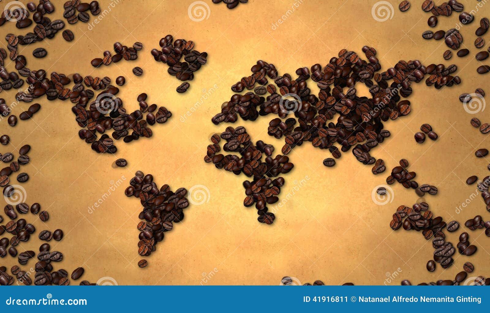 Grano de café del mapa del mundo en el papel viejo