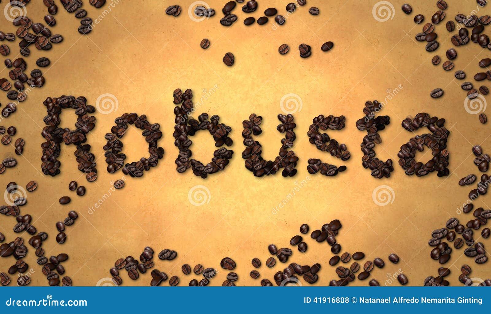 Grano de café Robusta en el papel viejo