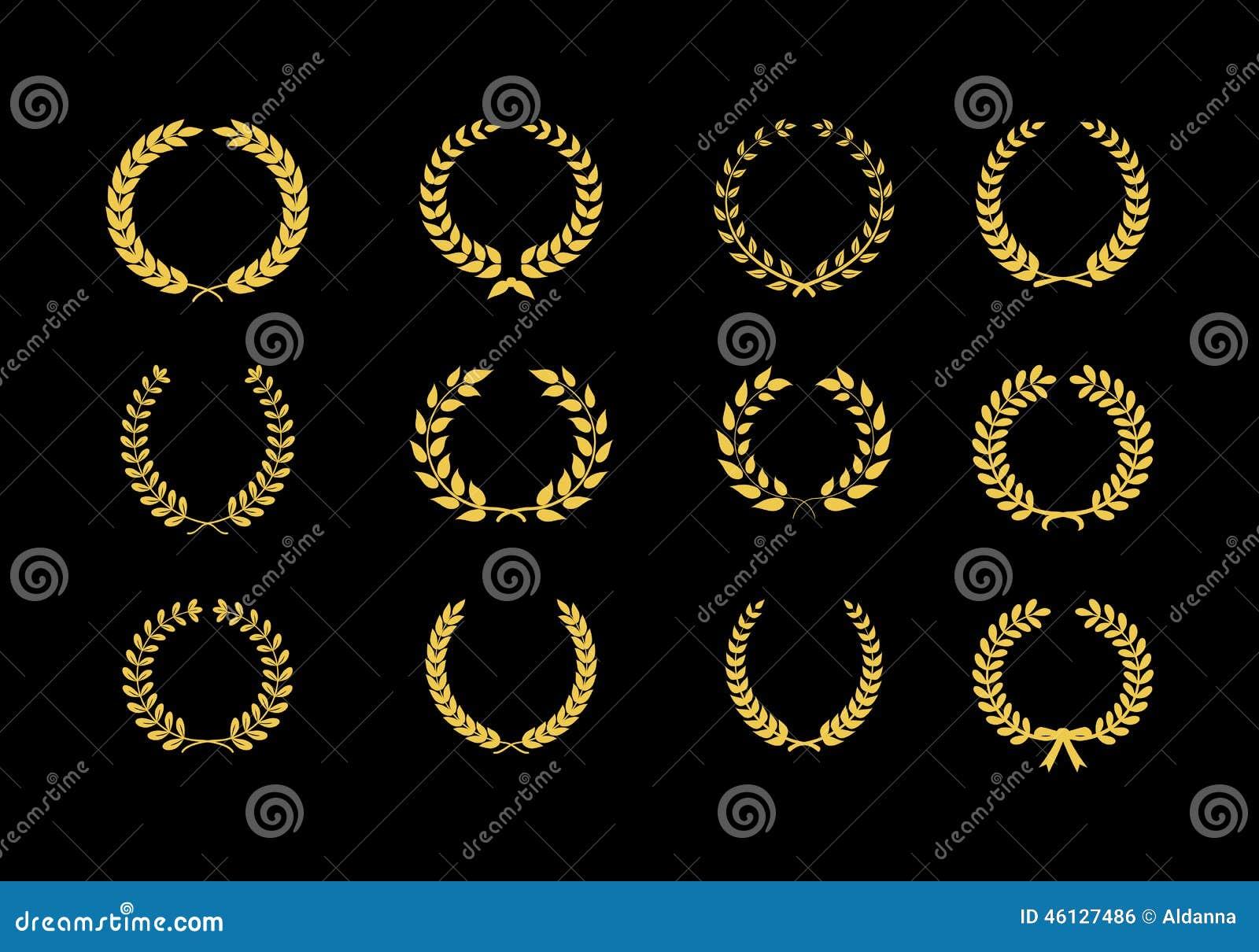 Grano dell alloro di vettore dell oro floreale e fogliato
