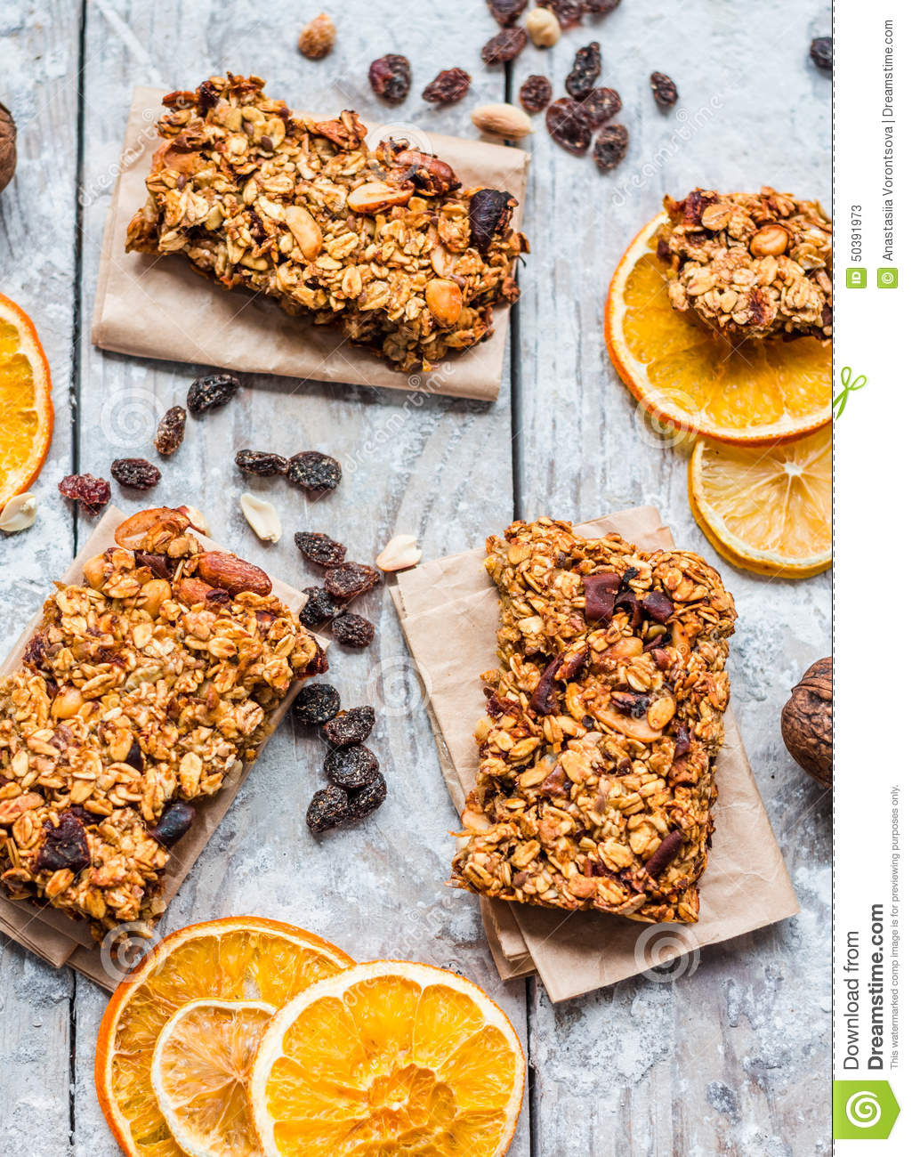 Granola Bars Citrus, Peanut Butter And Dried Fruit, Healthy Food Stock ...