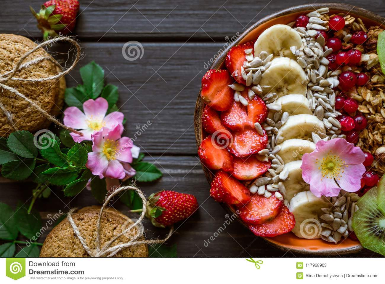 Granola, berries, biscuits and flowers 2