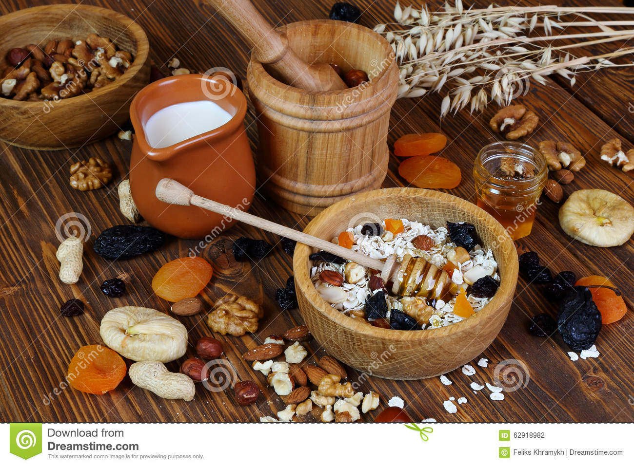 Granola With Oatmeal, Nuts, Dried Fruit And Honey Stock Photo - Image ...