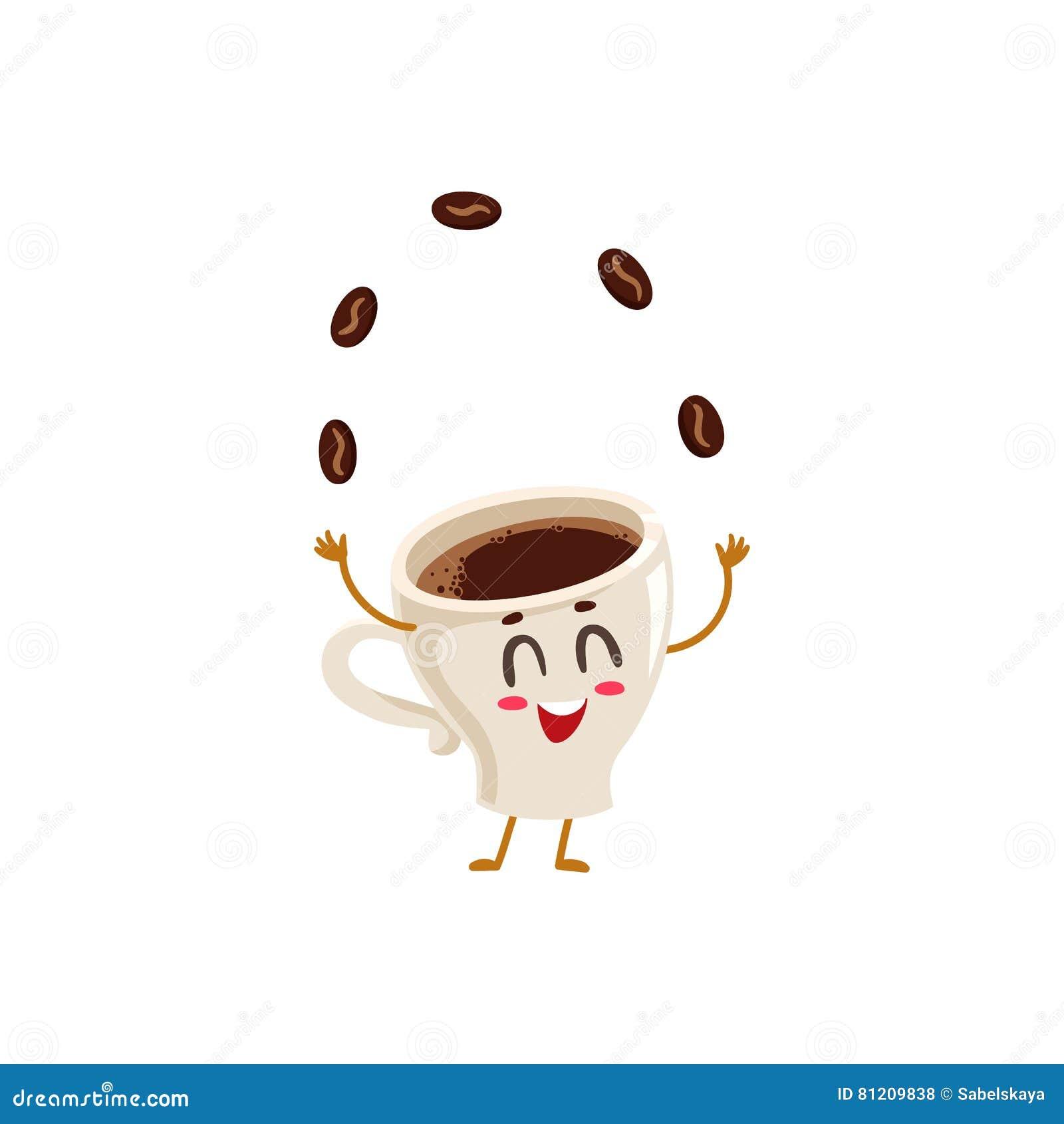Granos de café del café express que hacen juegos malabares del carácter enérgico divertido de la taza