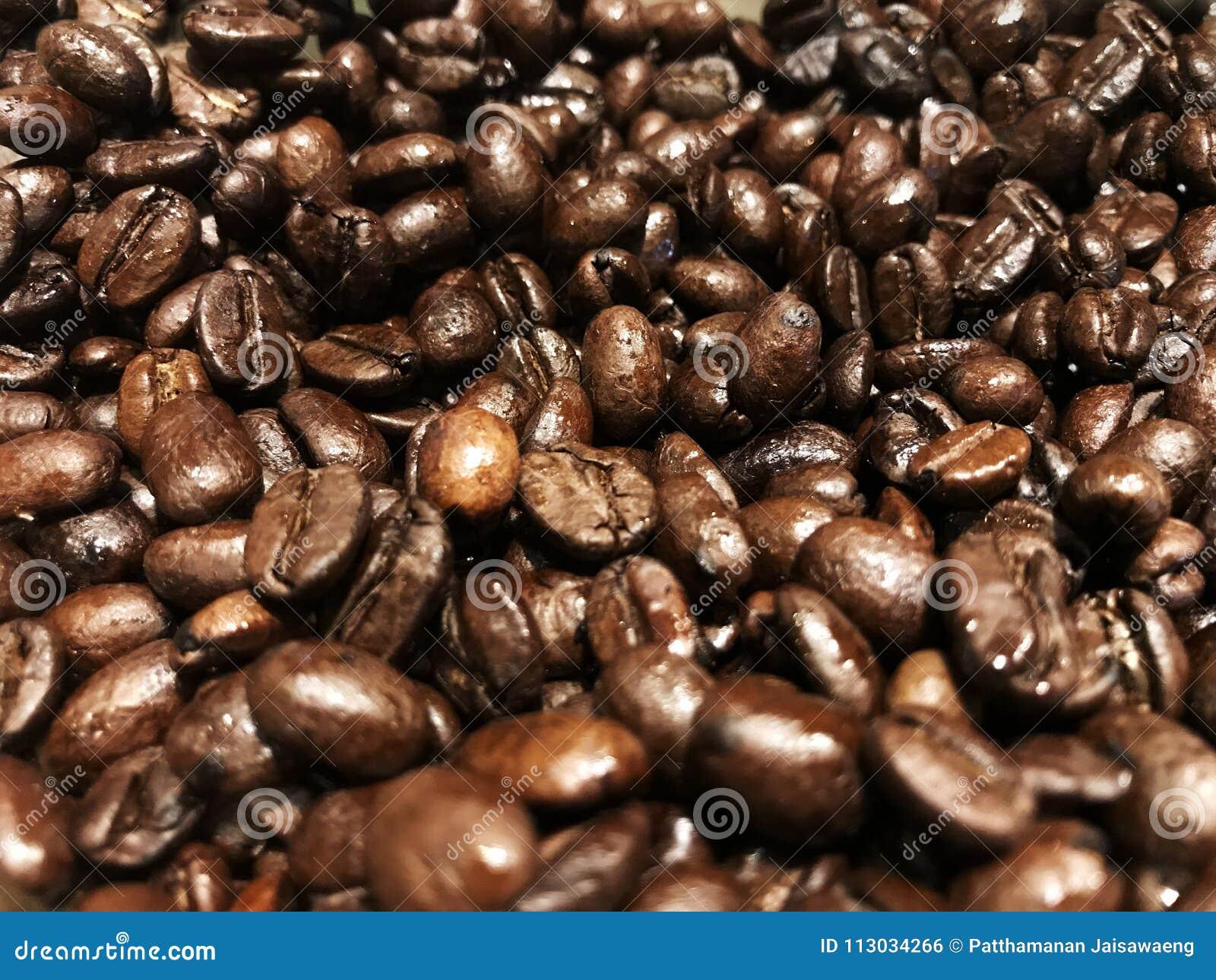 Granos de café fondo, granos de café asados