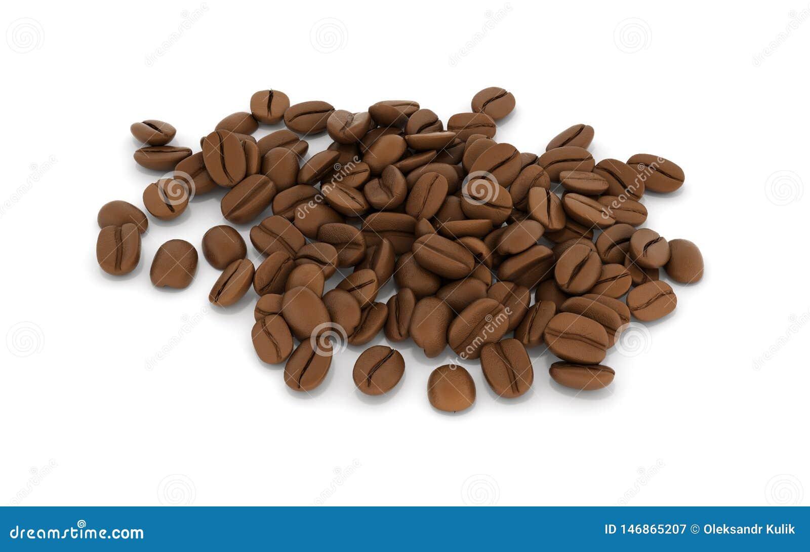 Granos de caf? aislados en el fondo blanco 3d