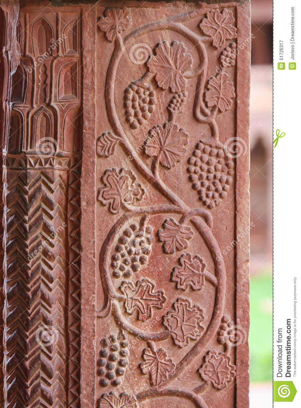 Grape carvings at fatehpur sikri palace in agra stock