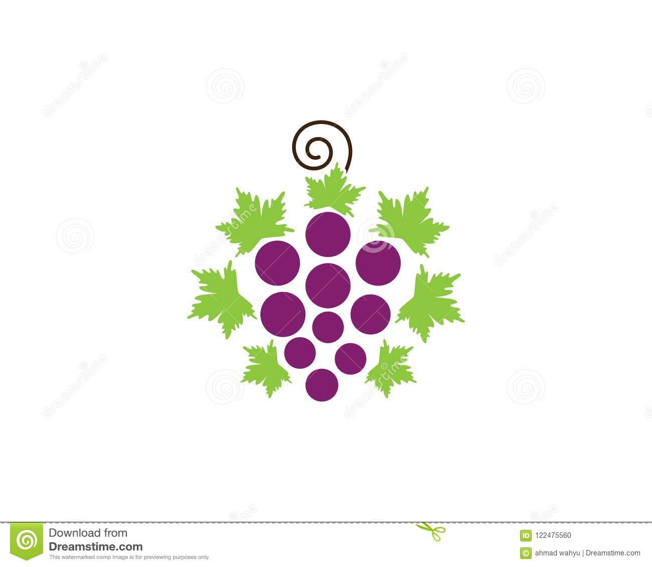 Grape With Leaf Icon Vector Template