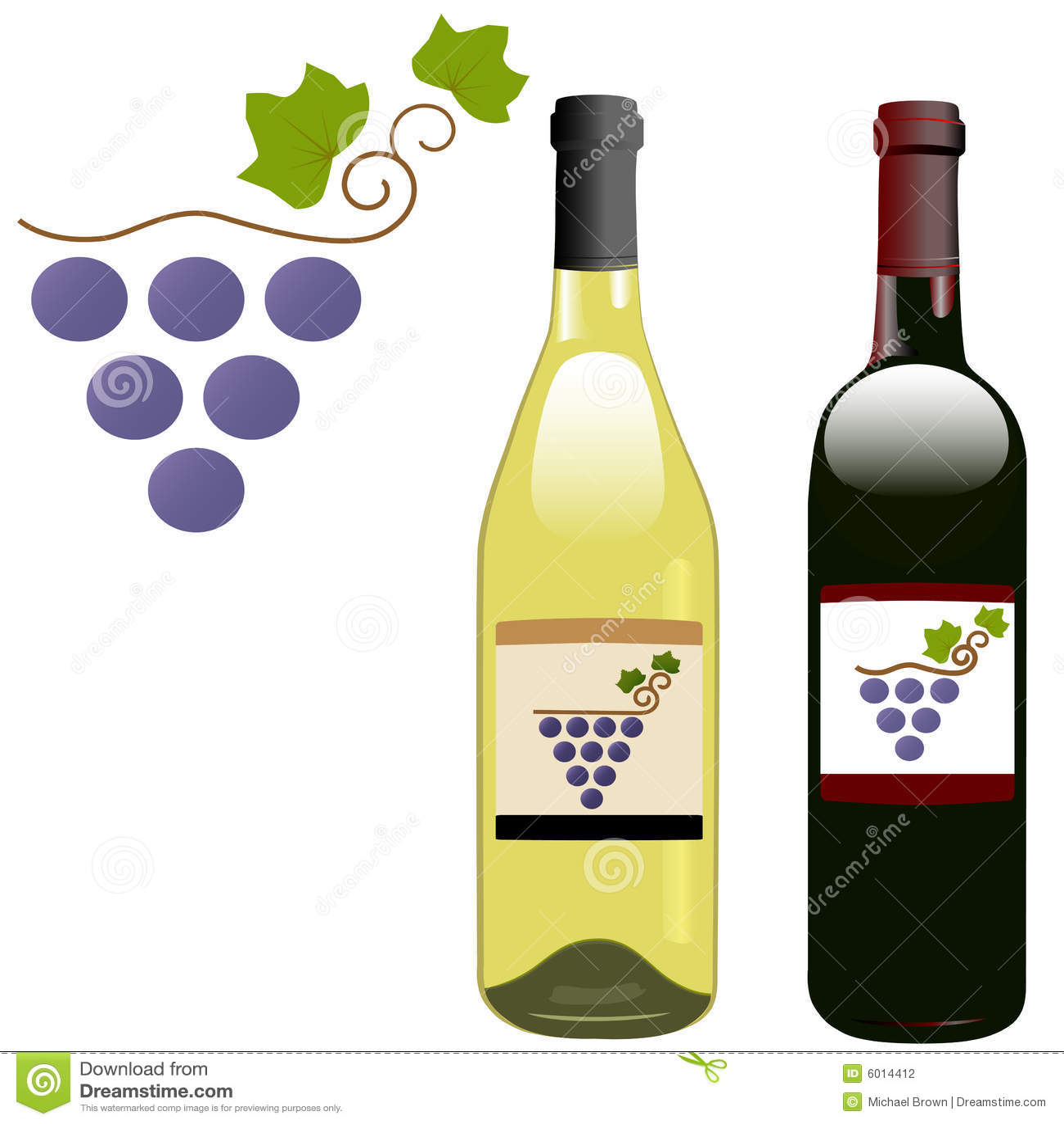Grape Vineyard Red White Wine Bottles Labels Stock Vector ...