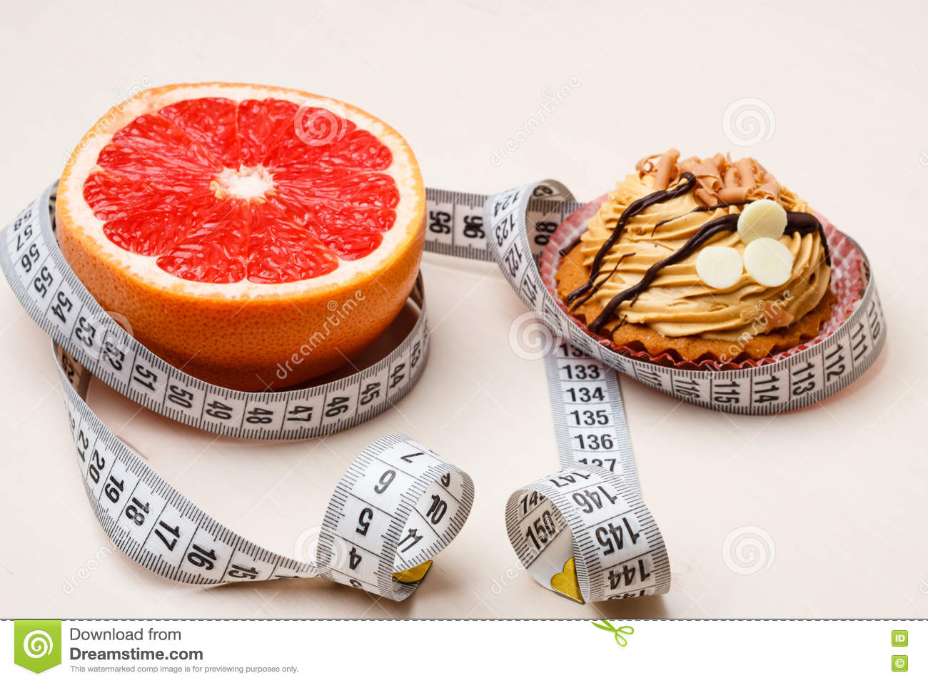 Grapefruit And Cake With Measuring Tape Diet Stock Photo Image Of Weight Junk 80003998