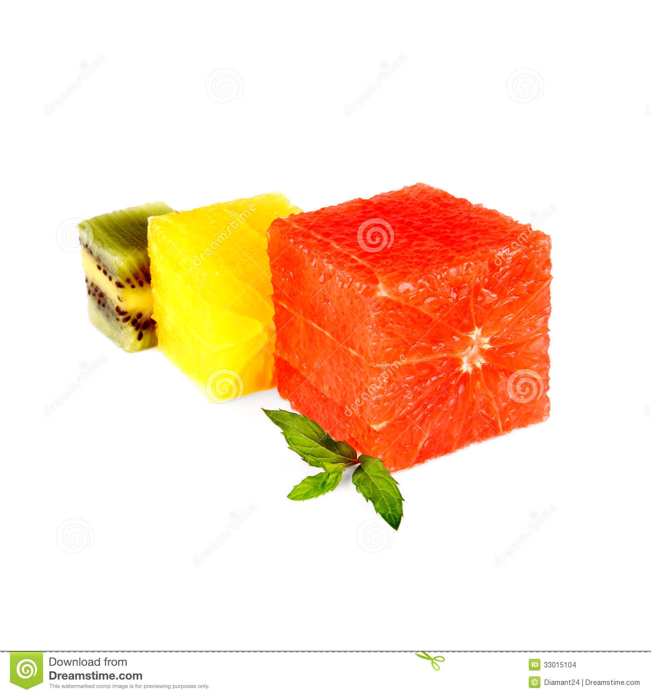 Grapefruit, kiwi and oranges cube with mint, isolated.
