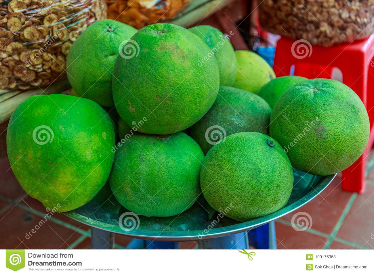Grapefruits in Whole Displayed for Sale in a Marketplace in Cambodia