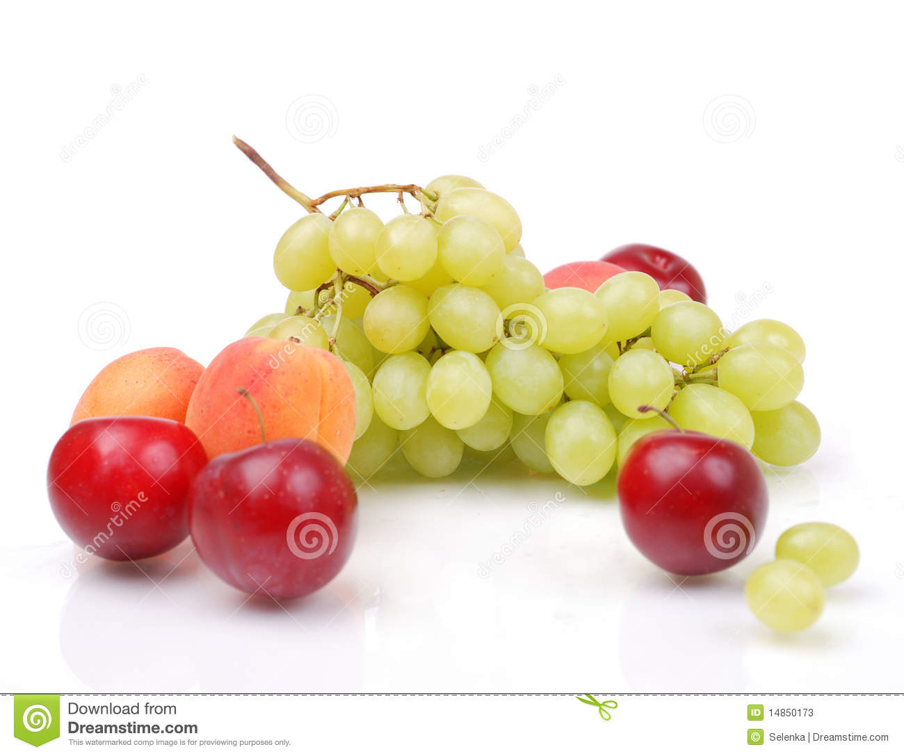 Grapes, apricots and plums
