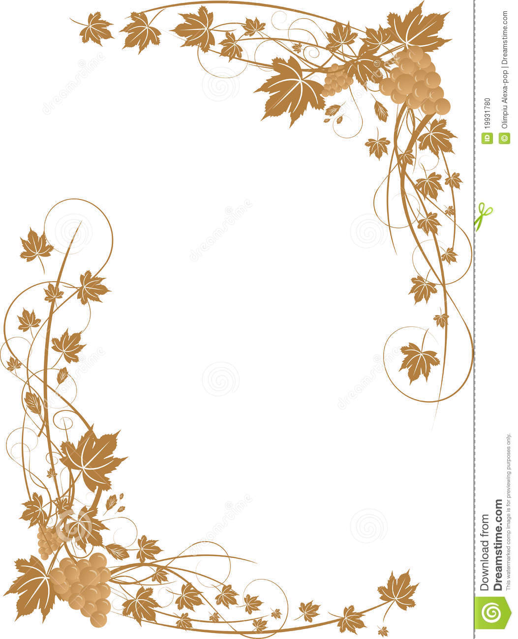 Grapes And Leaves Frame Stock Vector Illustration Of