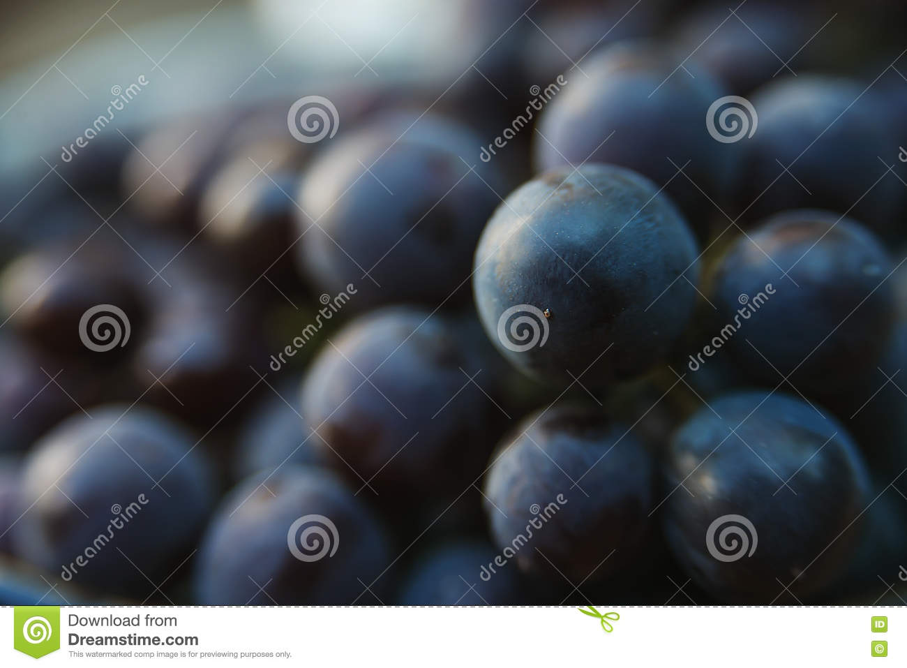 Grapes in plate outdoor, close up.