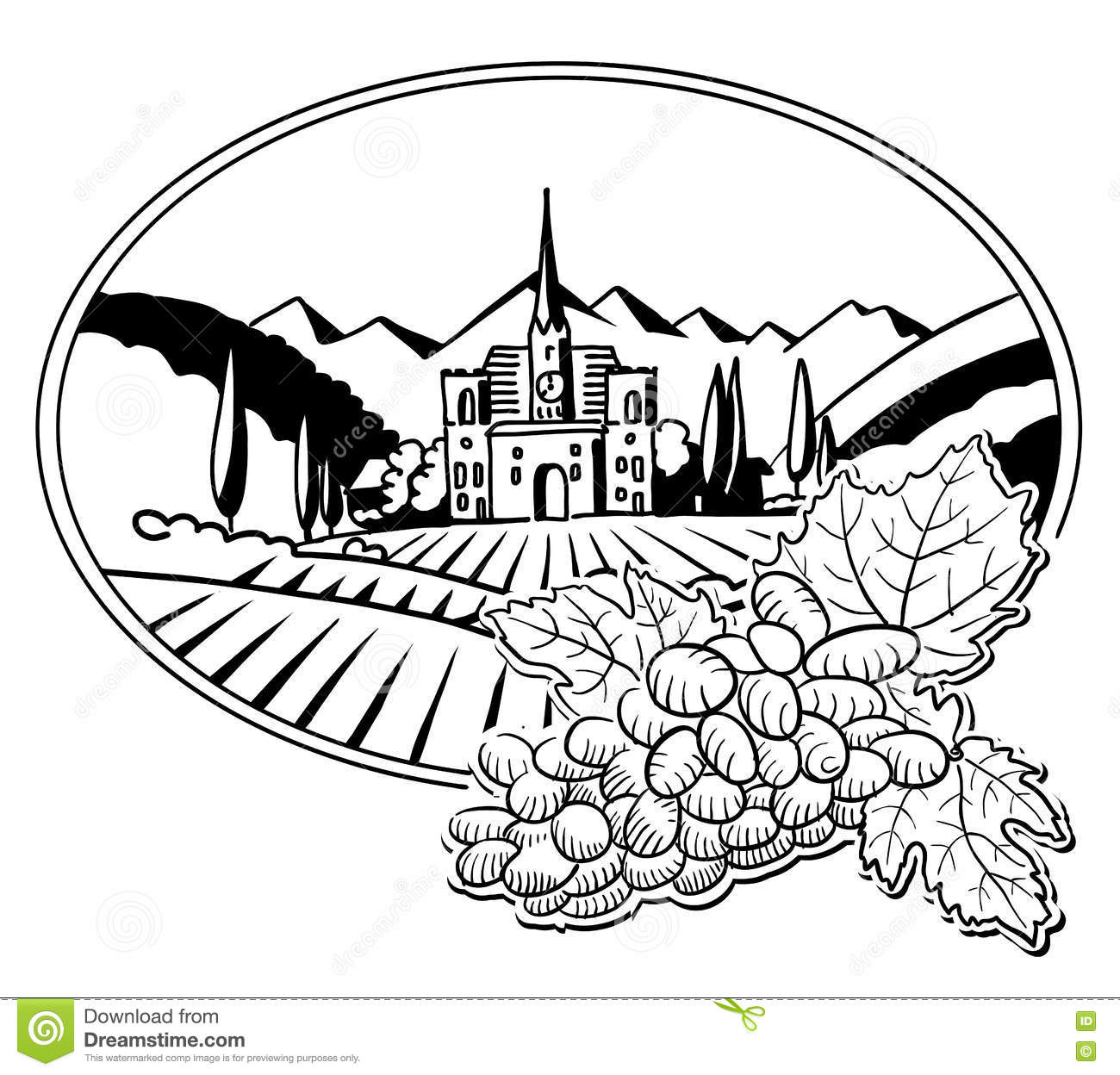 grapes with sketched vineyard farm label stock vector