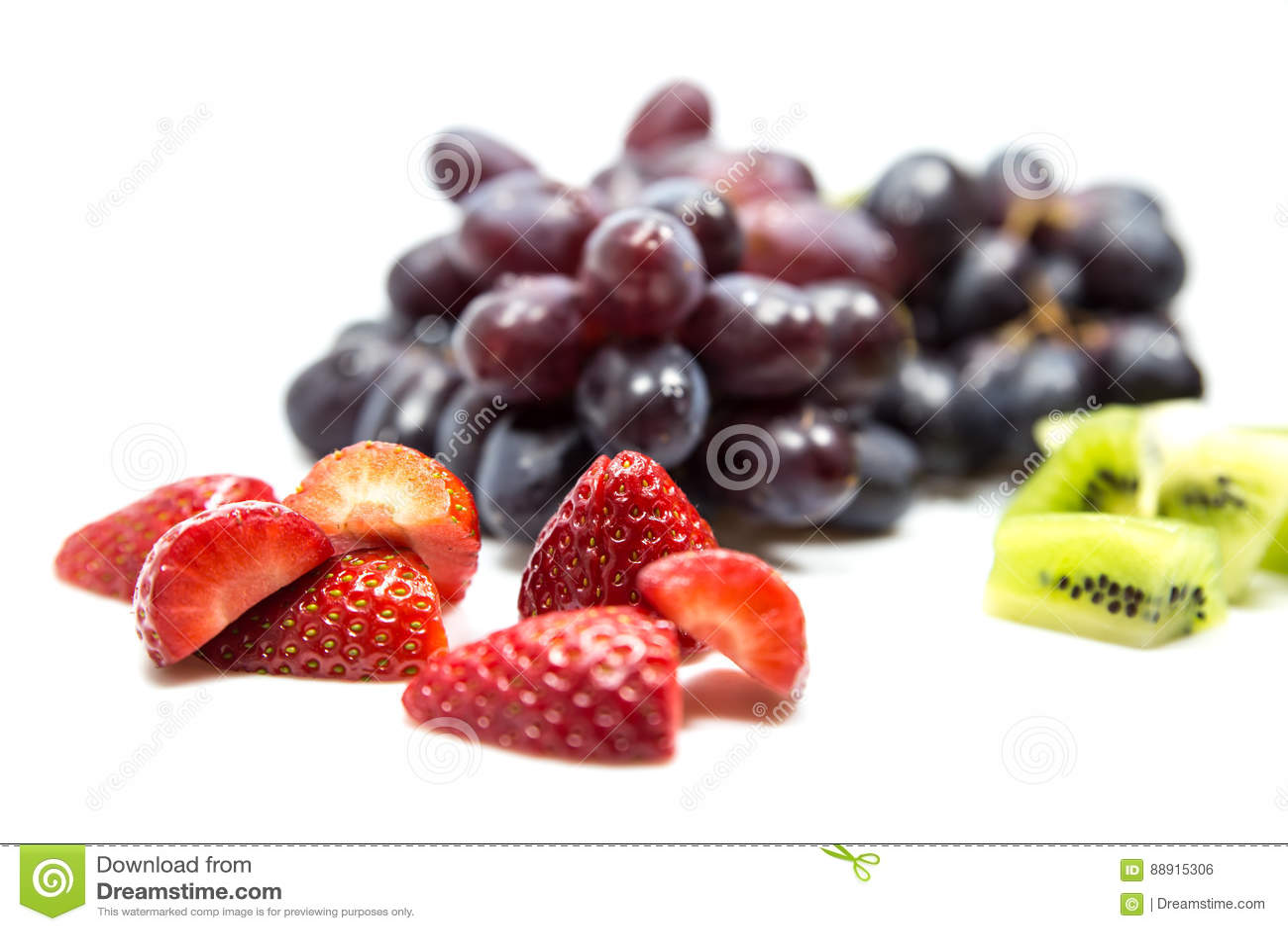 Grapes, strawberrys and kiwis