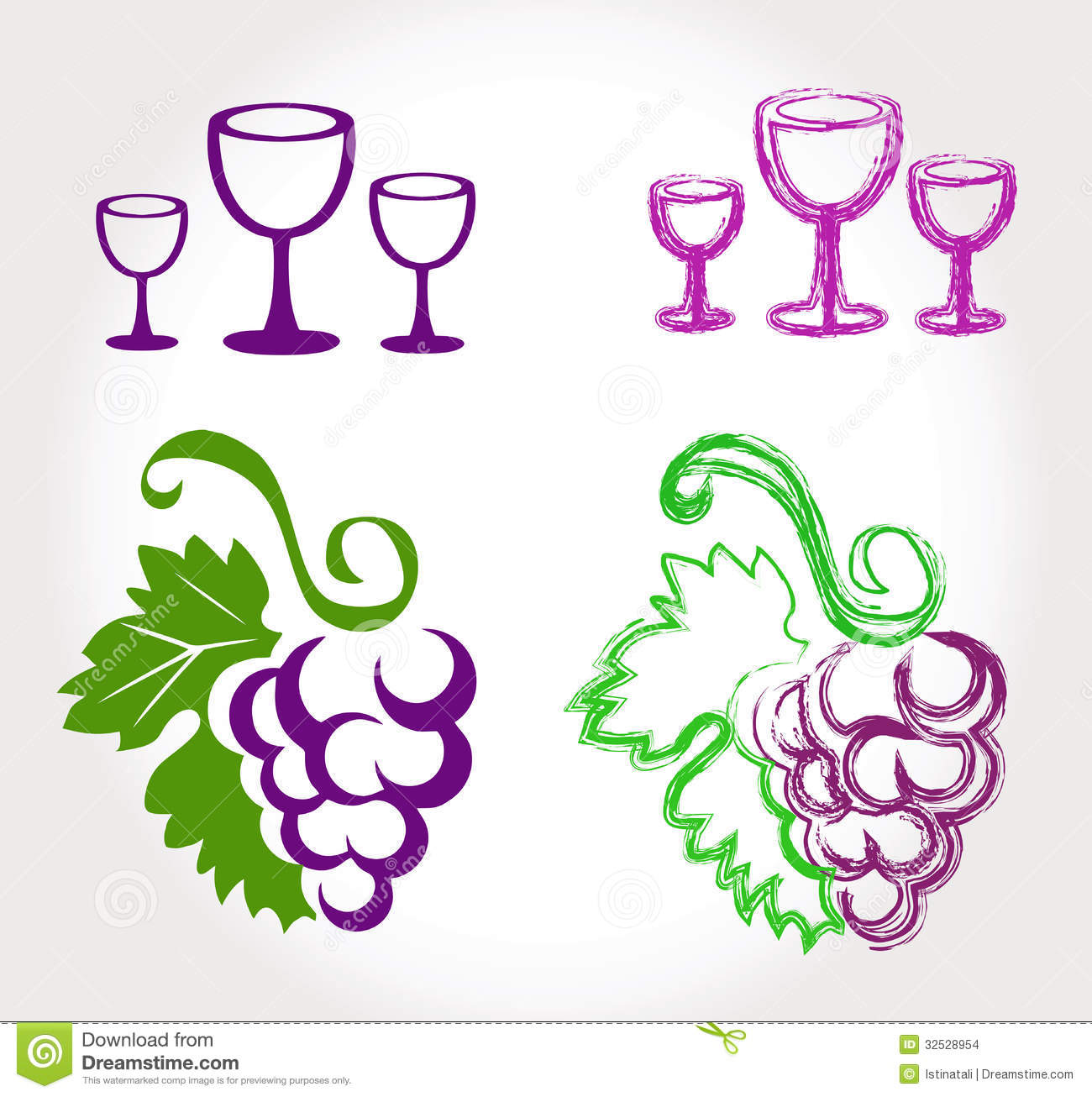 Grapes and wine glasses stock vector. Image of alcohol ...
