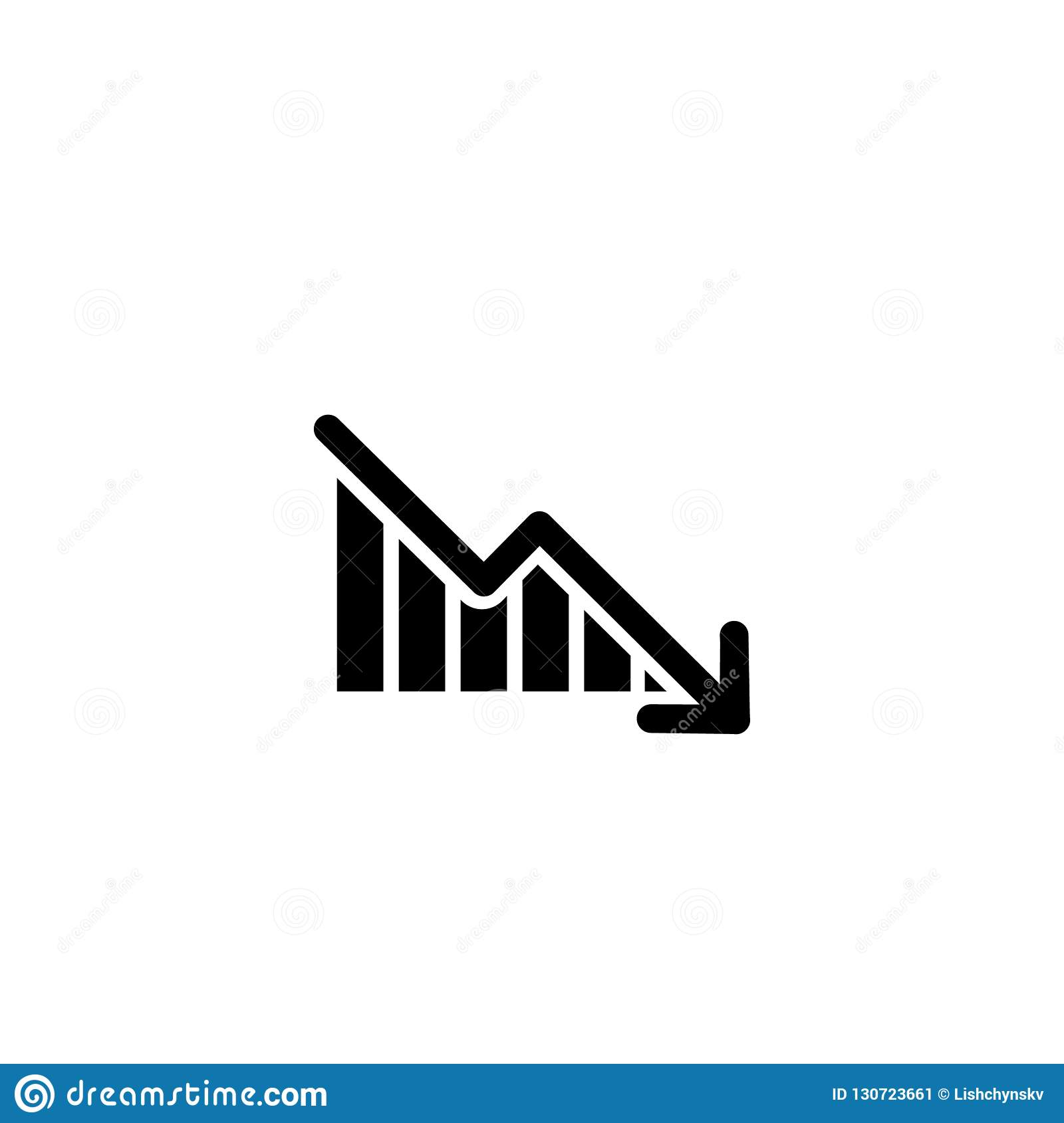 Graph with arrow going down. vector symbol