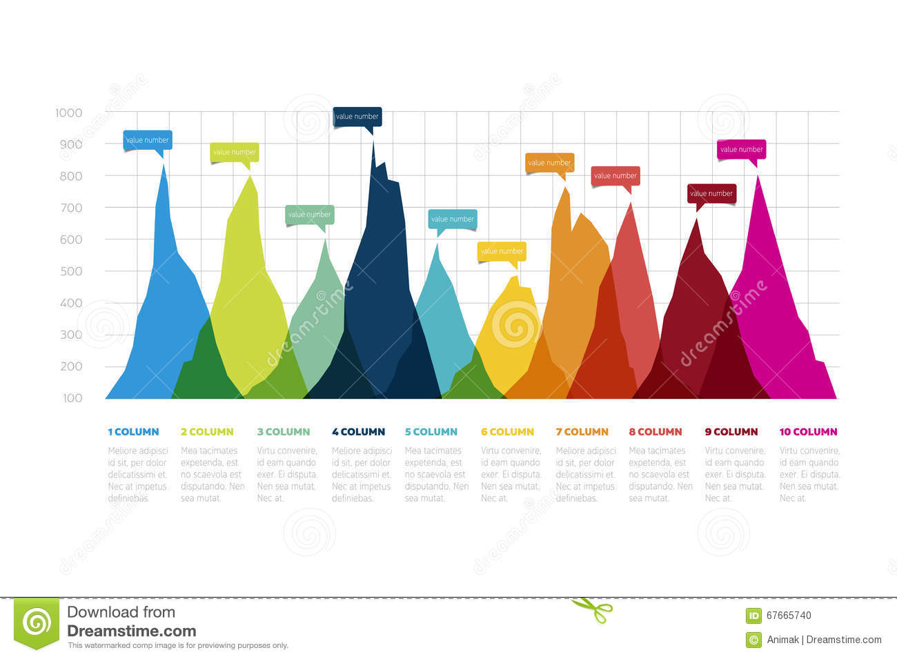 Table chart design - Graph Chart Design Area Chart For Infographic Stock Photo